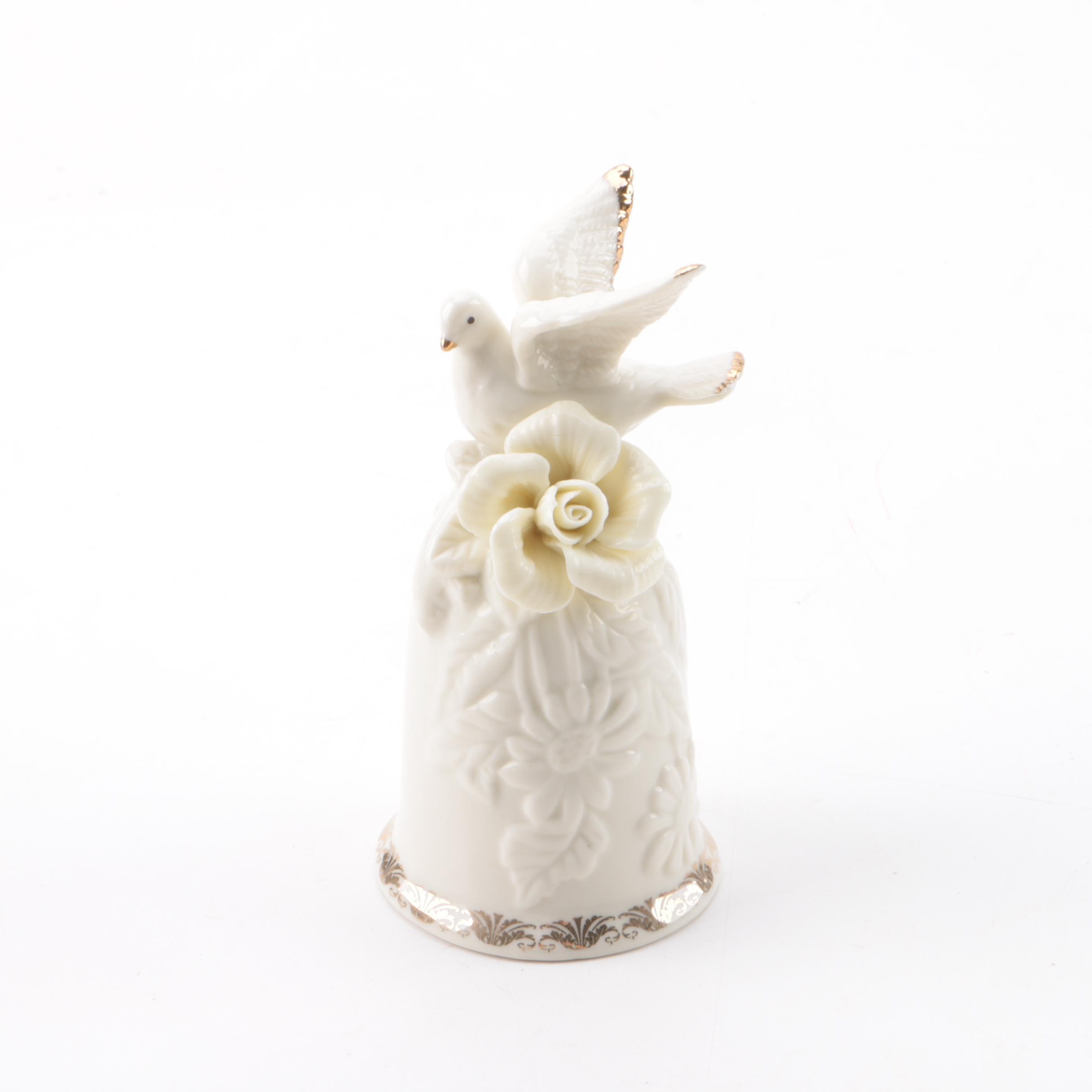 Porcelain Bell with Dove Figurine and Gilt Accents
