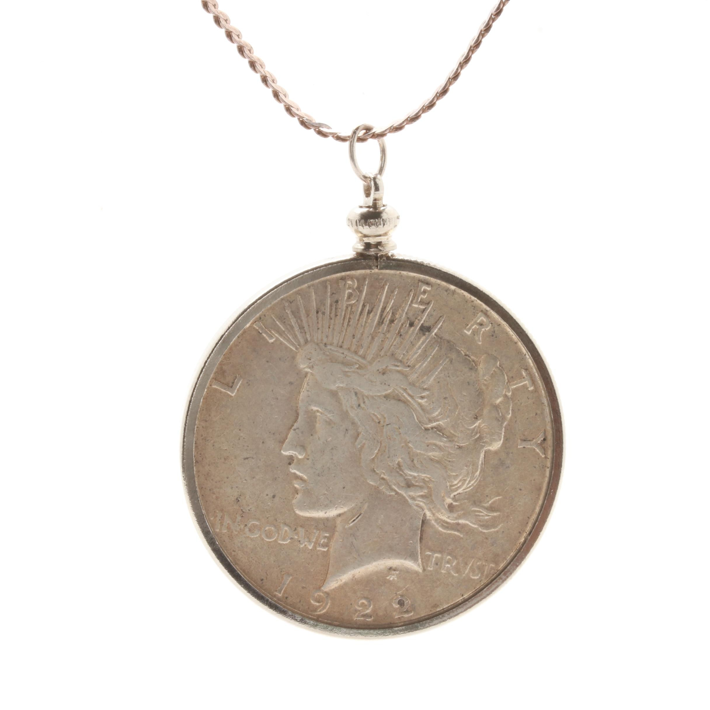 Sterling Silver 1922-S Peace Silver Dollar Pendant Necklace