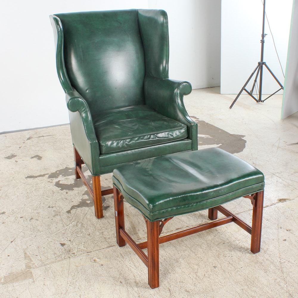 Green Leather Wingback Armchair and Ottoman by Southwood