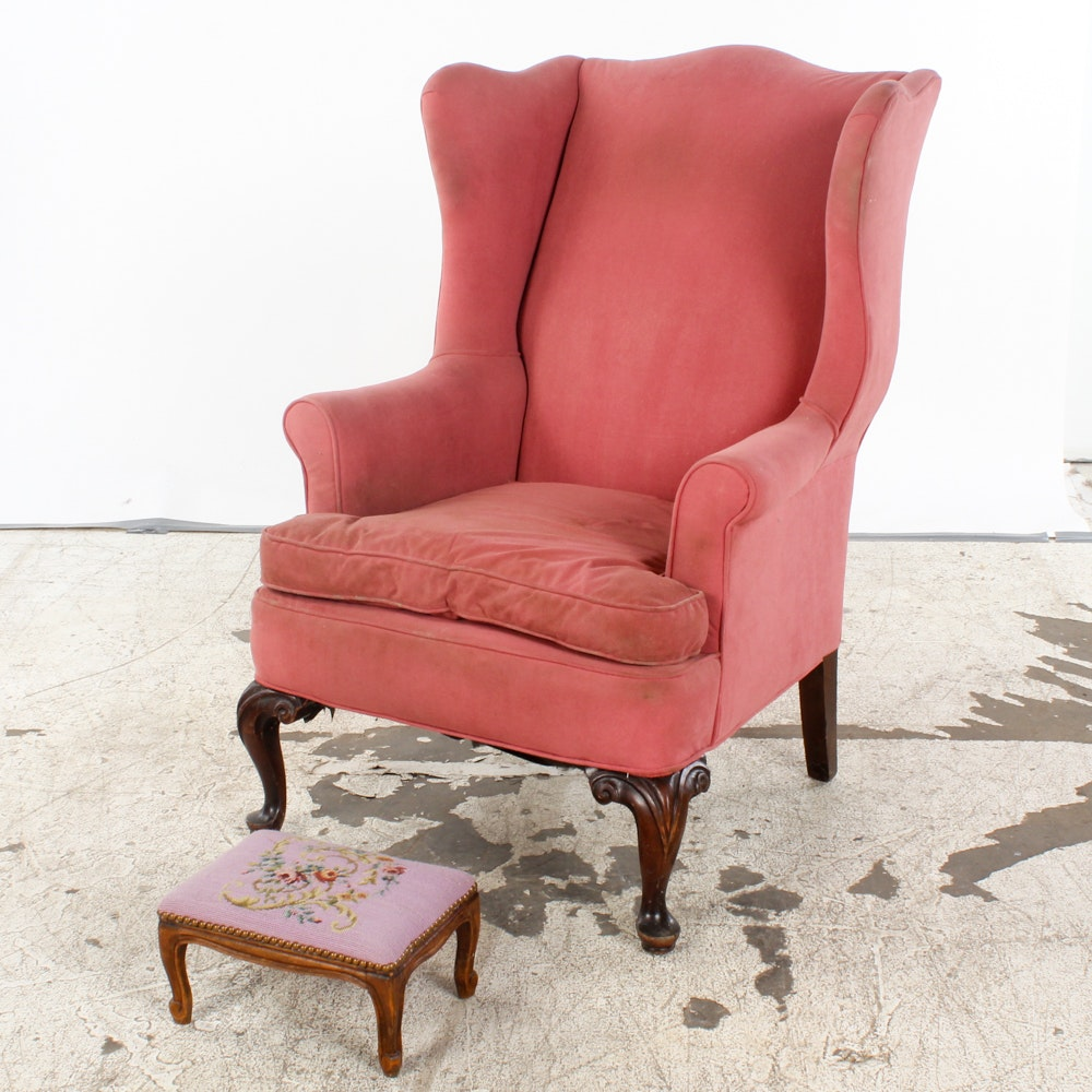 Vintage Queen Anne Style Wingback Chair with Needlepoint Footrest
