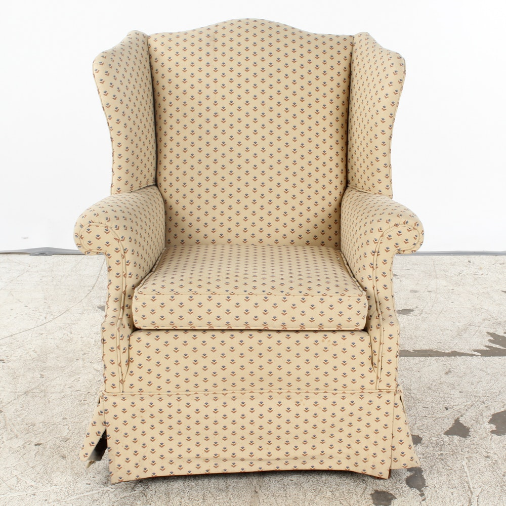 Vintage Chippendale Style Upholstered Wingback Chair by Blue Grass Upholstering
