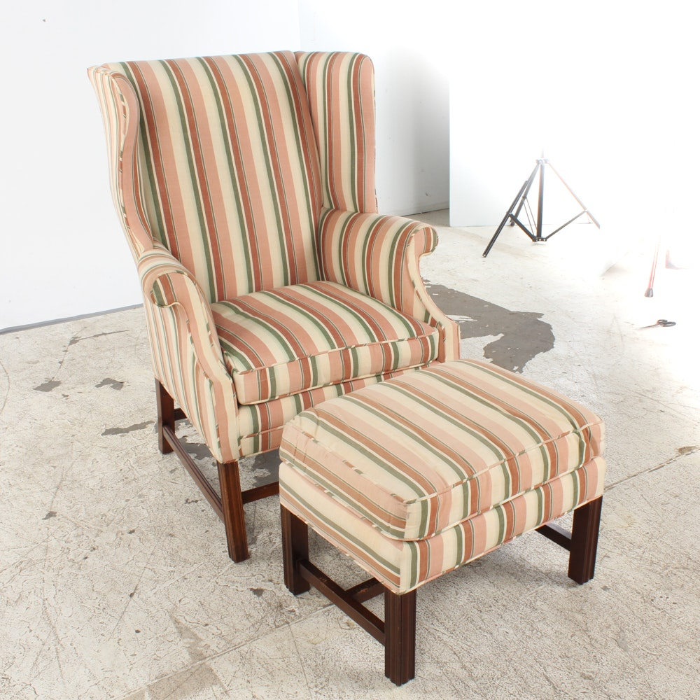 Striped Wingback Chair and Ottoman