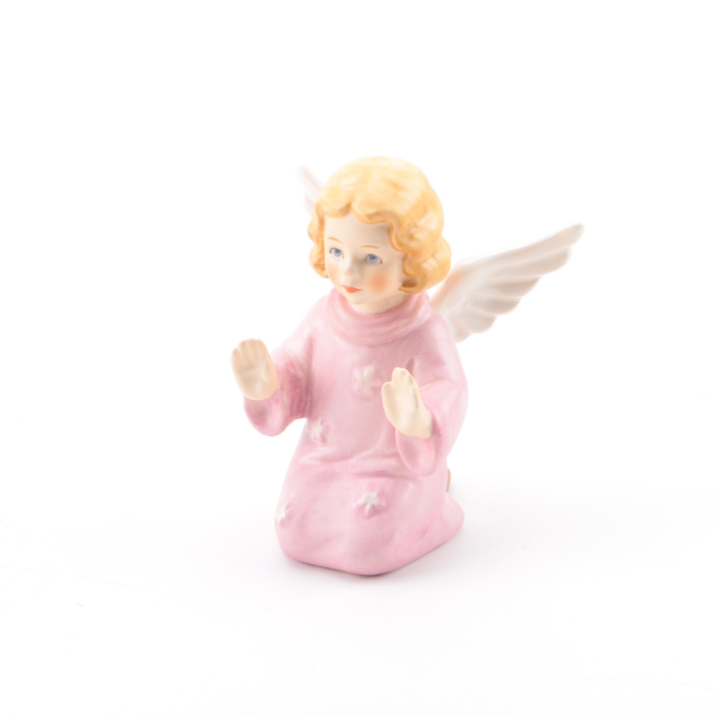 Vintage Geobel Porcelain Angel in Pink Figurine
