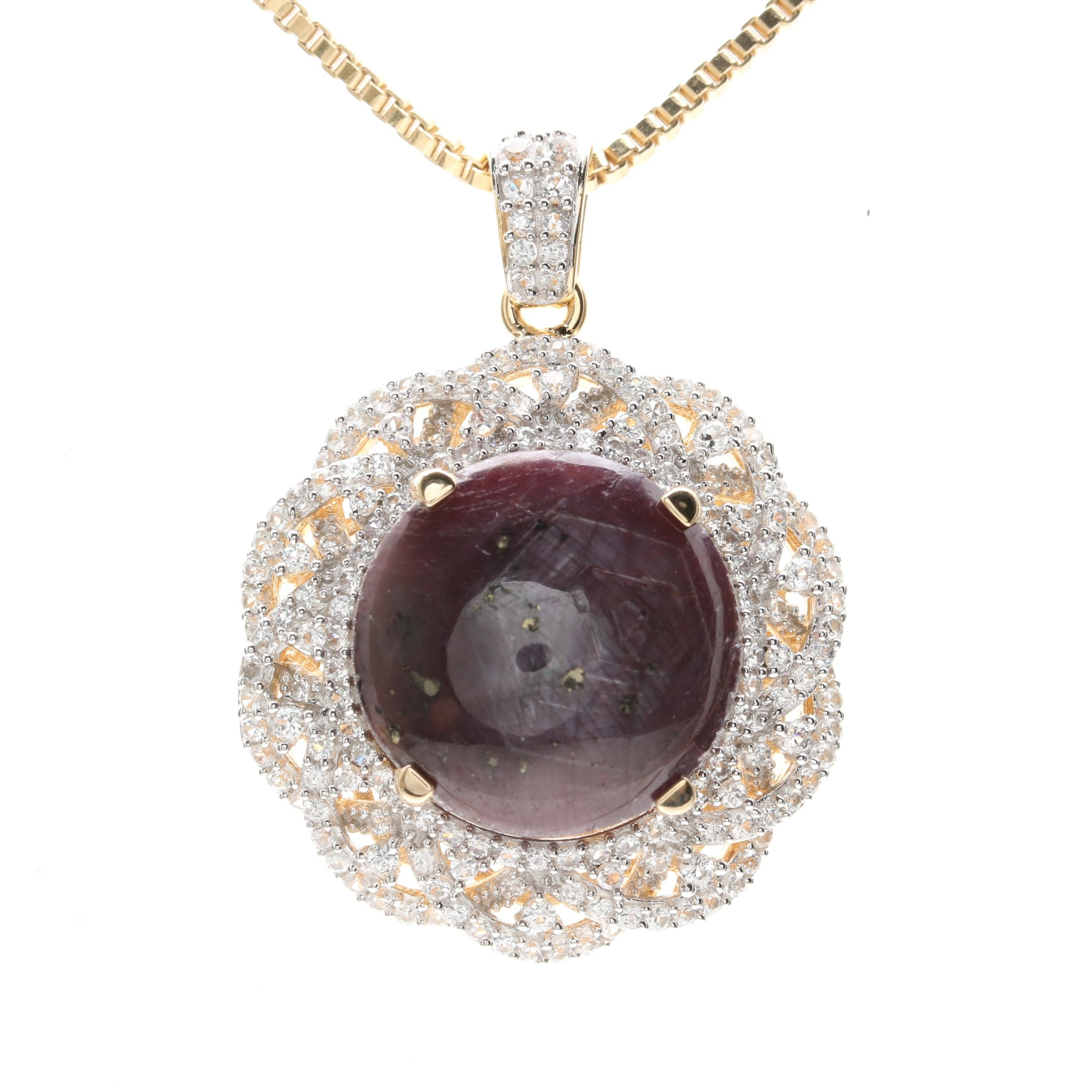 Gold Wash on Sterling Silver 30.74 CT Star Corundum and White Sapphire Necklace