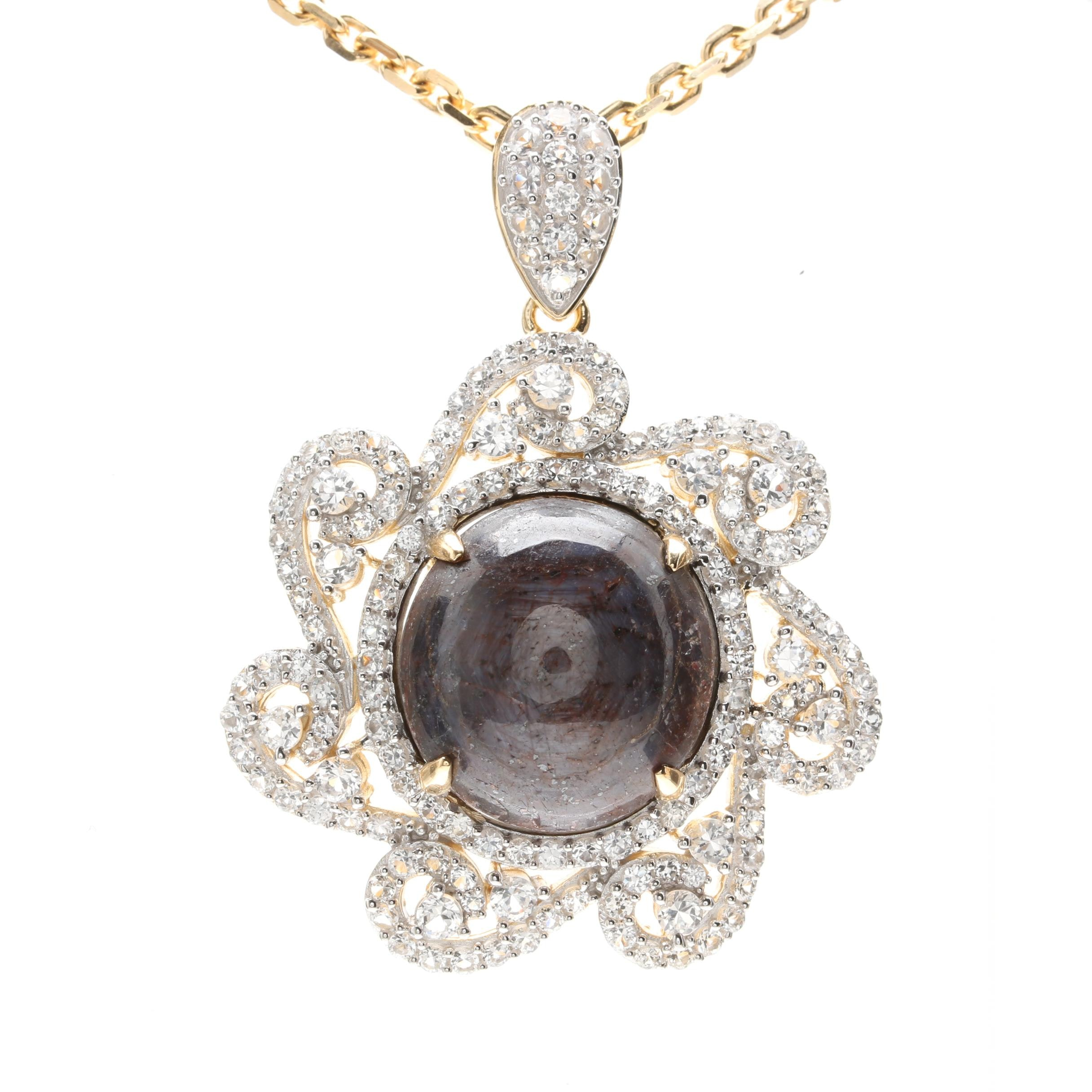 Gold Wash on Sterling Silver 38.79 CT Star Corundum and White Sapphire Necklace
