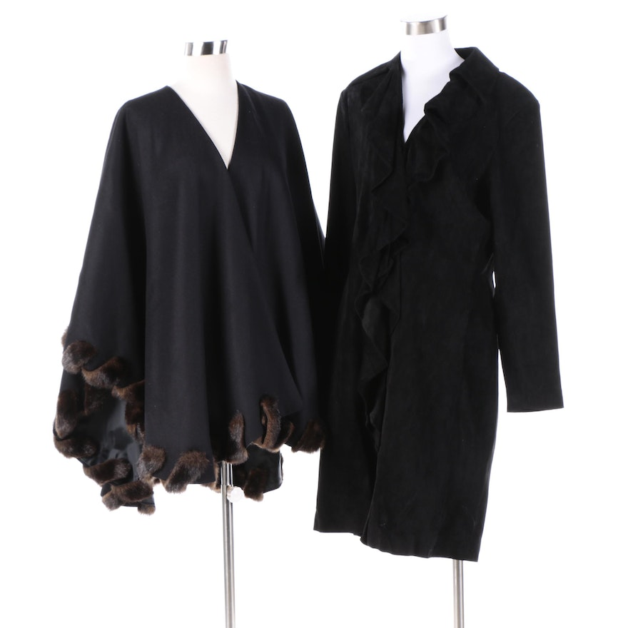 69dc8e50464a Women's Margaret Godfrey Suede Coat and Donna Salyers' Wool Cape with Faux  Fur : EBTH