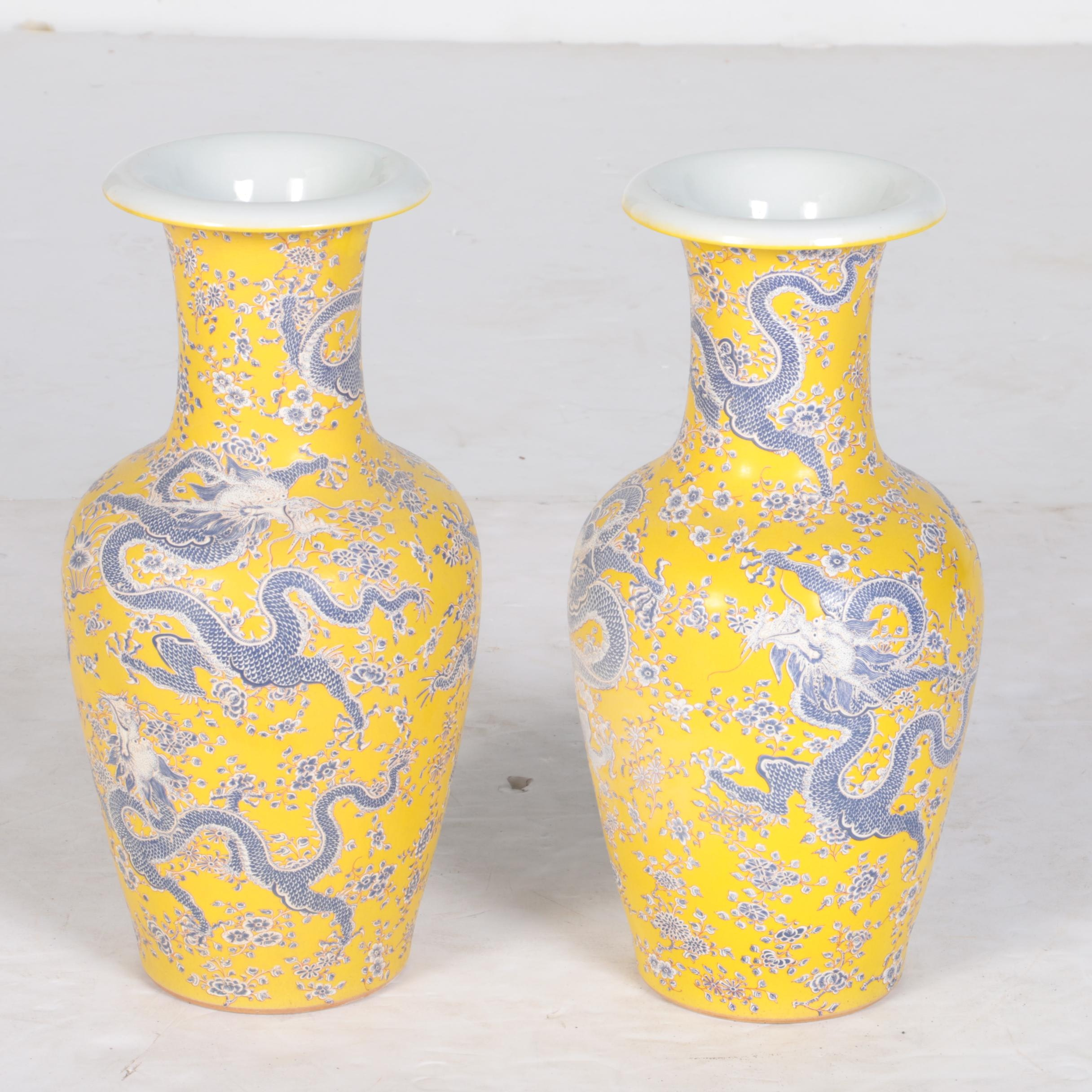 Chinese Yellow and Grey Ceramic Dragon Vases