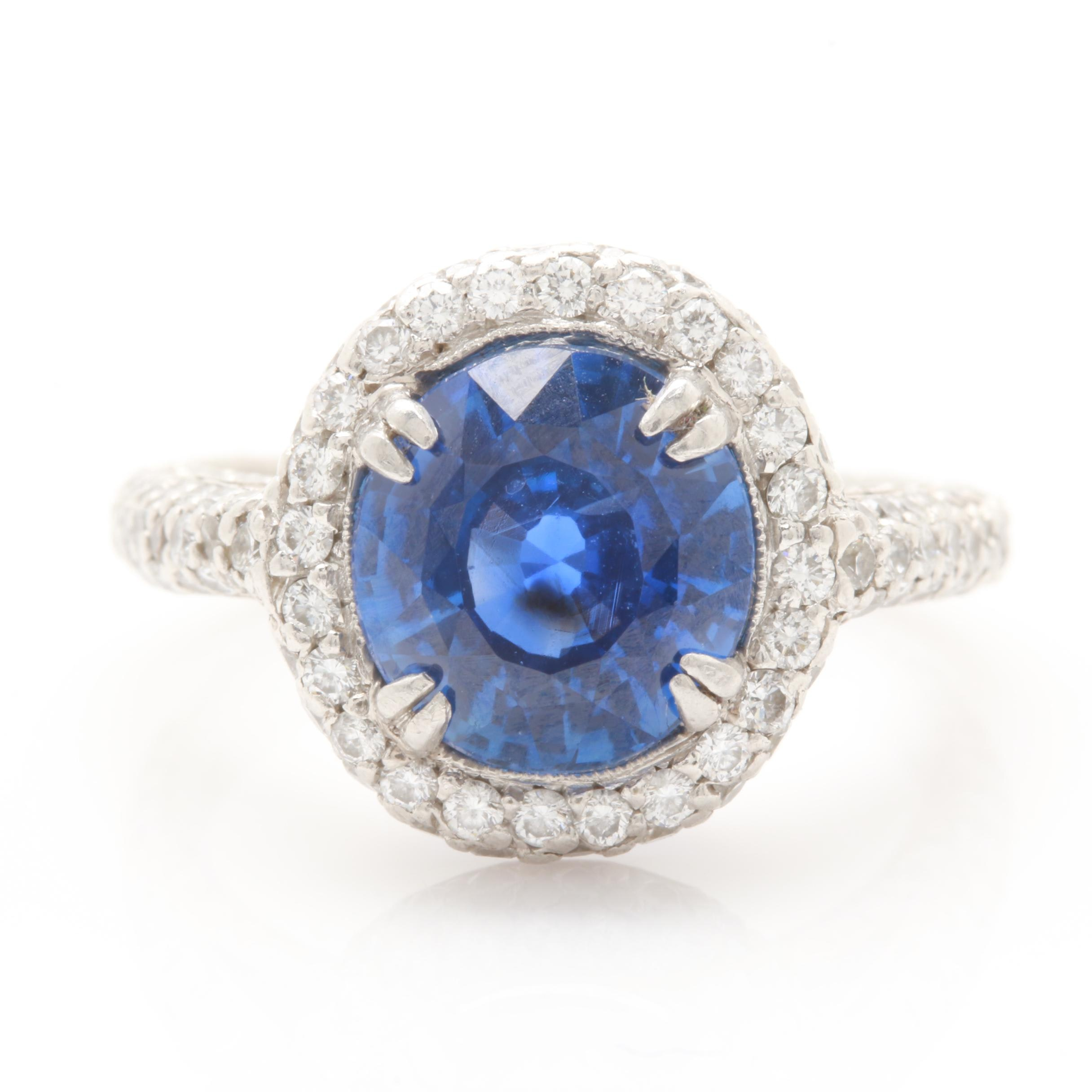 Phillip Press Platinum 3.77 CT Blue Sapphire and 1.66 CTW Diamond Ring