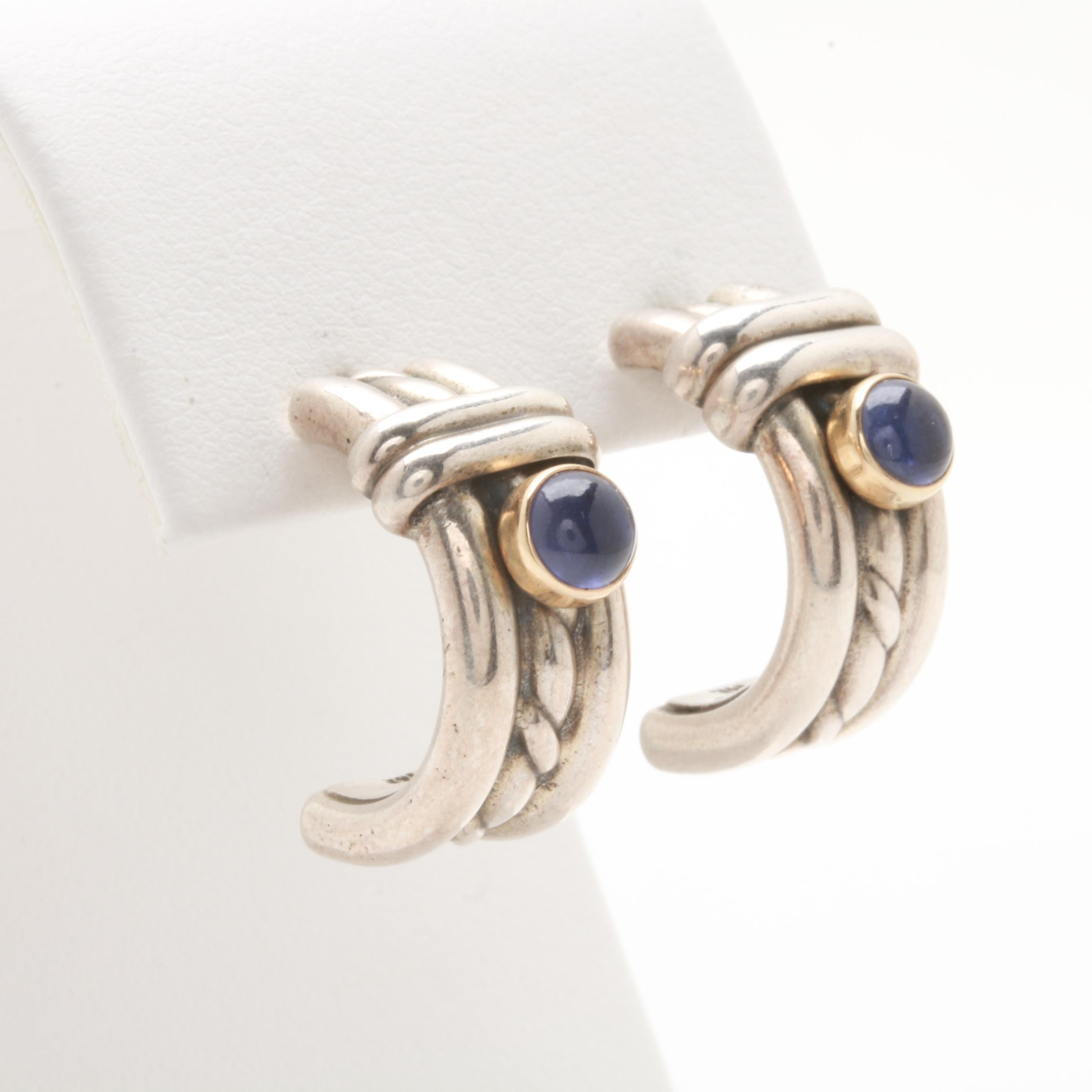 Rêve Couture Sterling Silver Iolite C-Hoops with 14K Yellow Gold Accents
