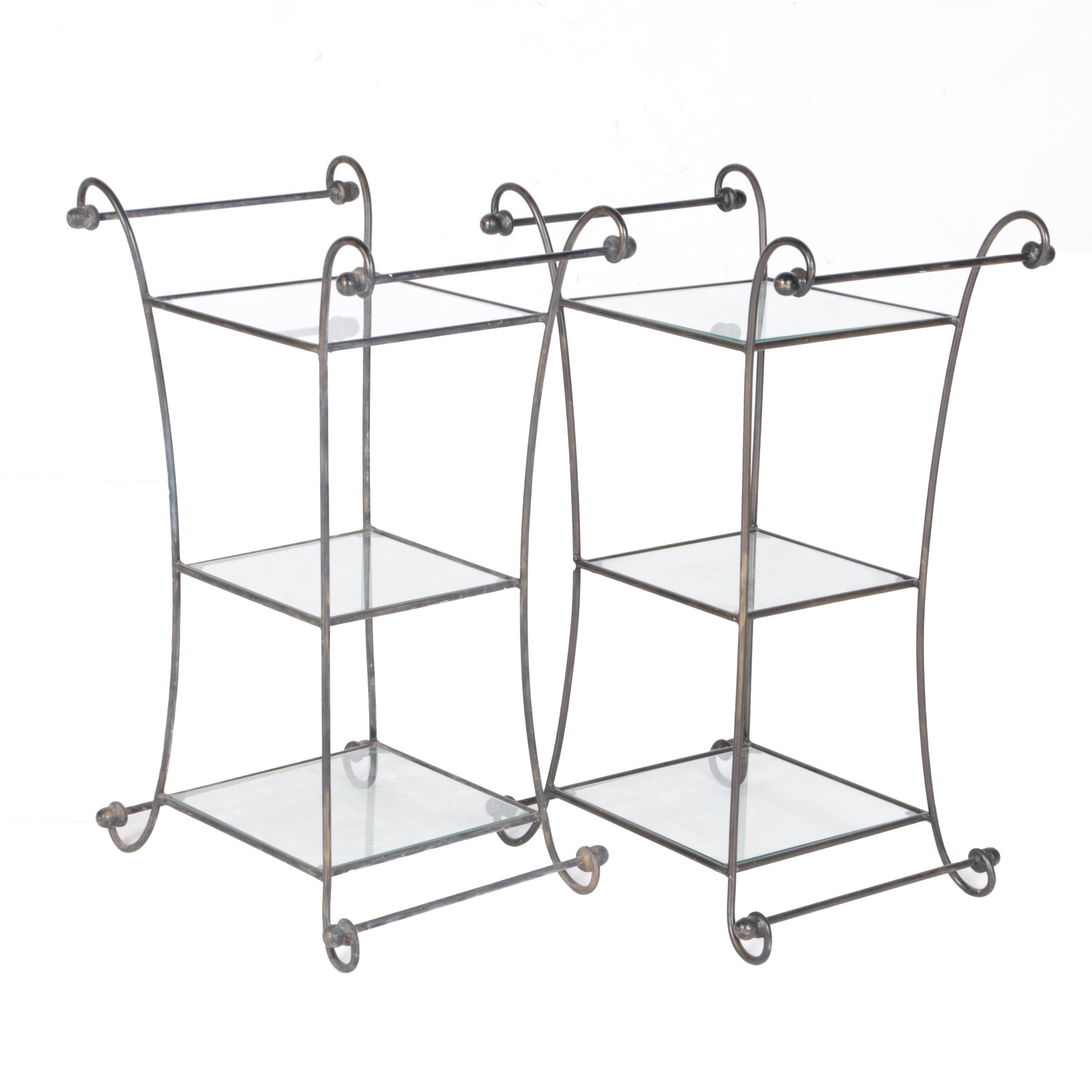Woodard Style Wrought Iron and Glass Accent Tables