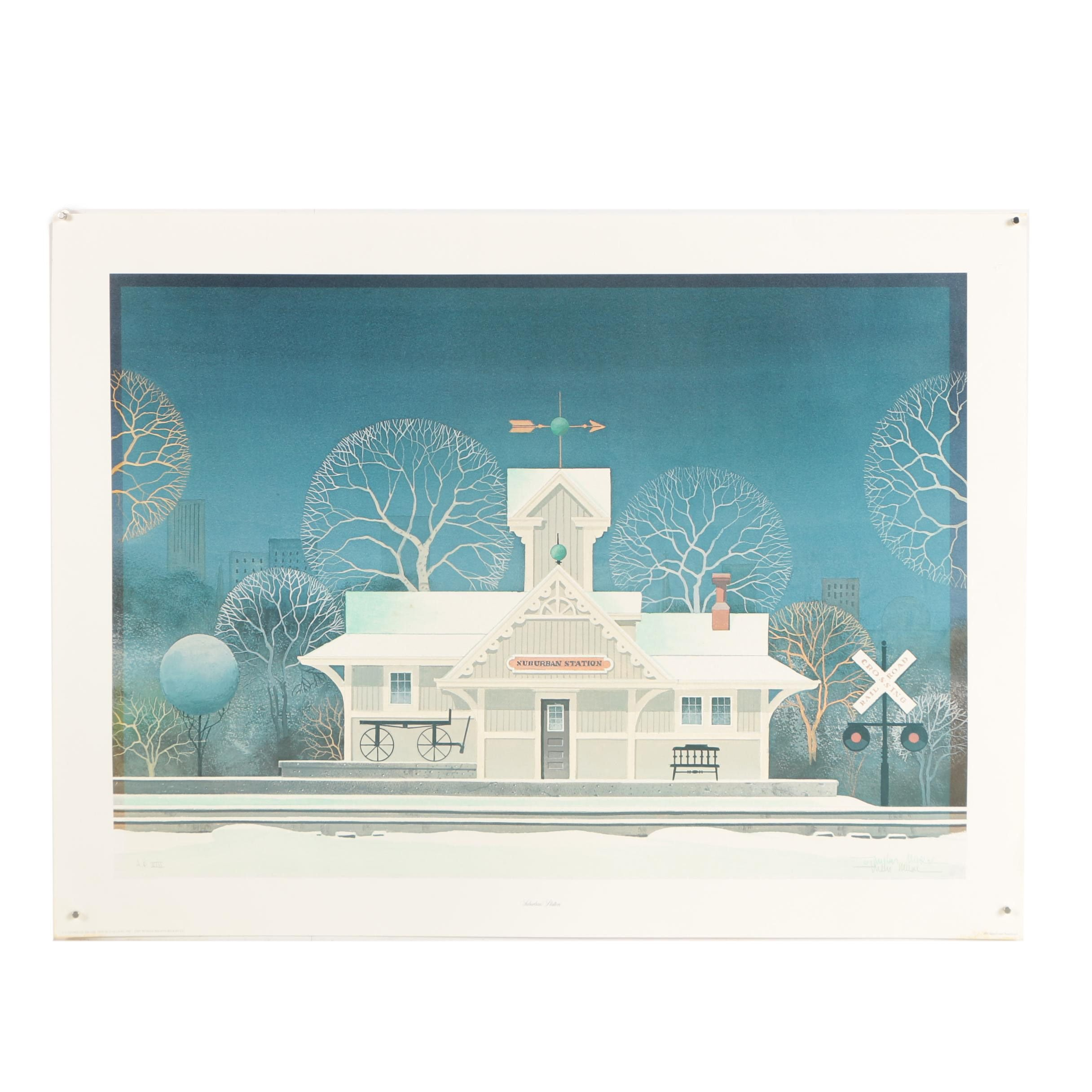 "Wilbur Meese Signed Offset Lithograph ""Suburban Station"""