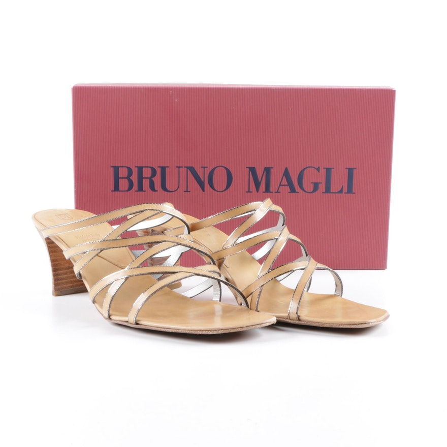 7fa343a378c Women s Bruno Magli Tan and Silver Metallic Leather Heeled Slide Sandals ...