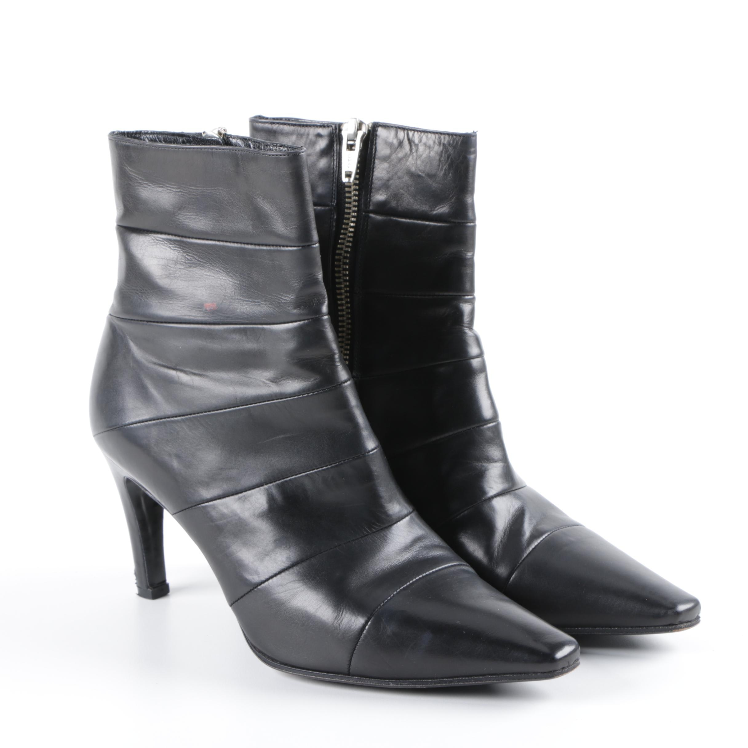 Women's Stephane Kélian Black Leather Ankle Booties with Box