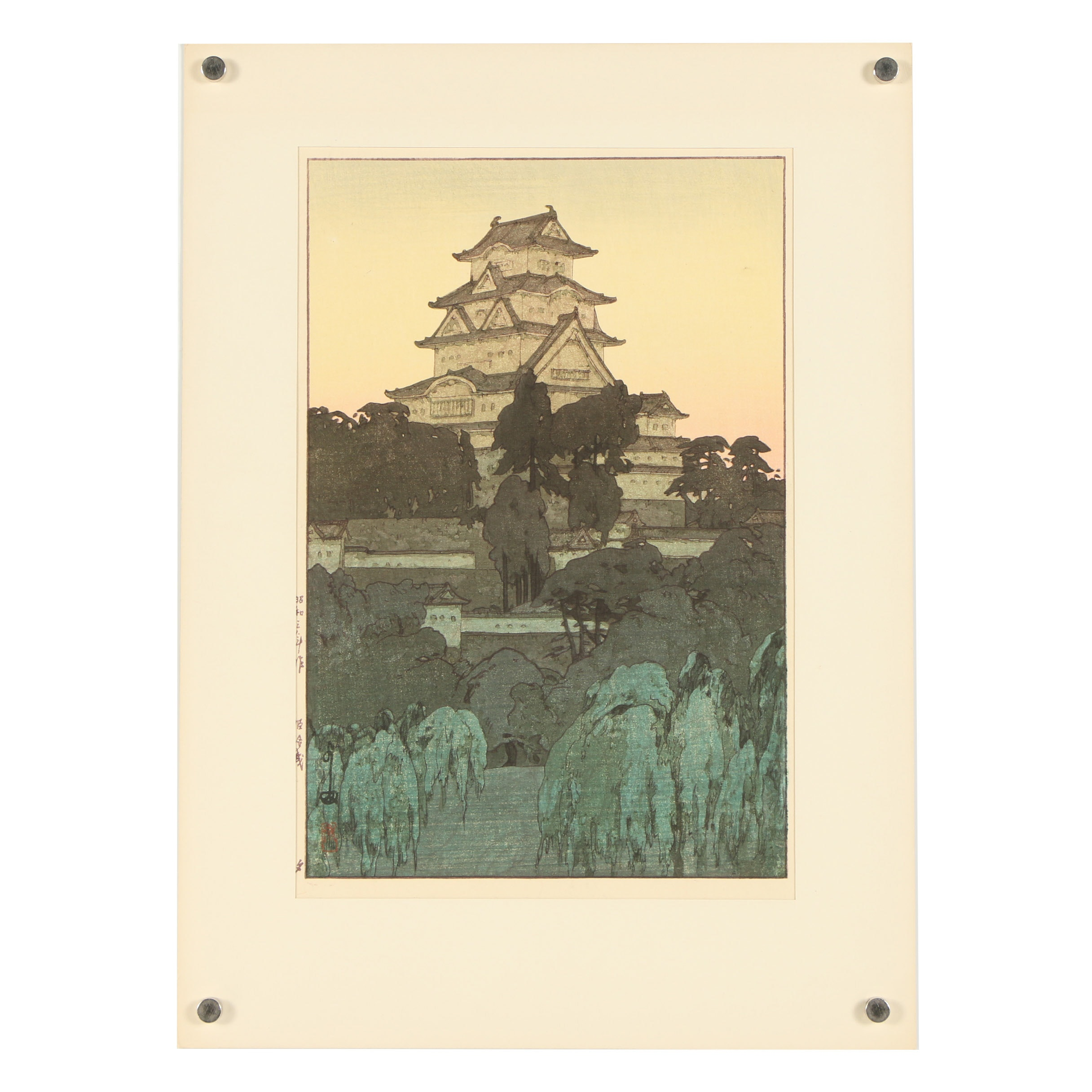 "Woodblock After Hiroshi Yoshida ""Himeji Castle - Evening"""