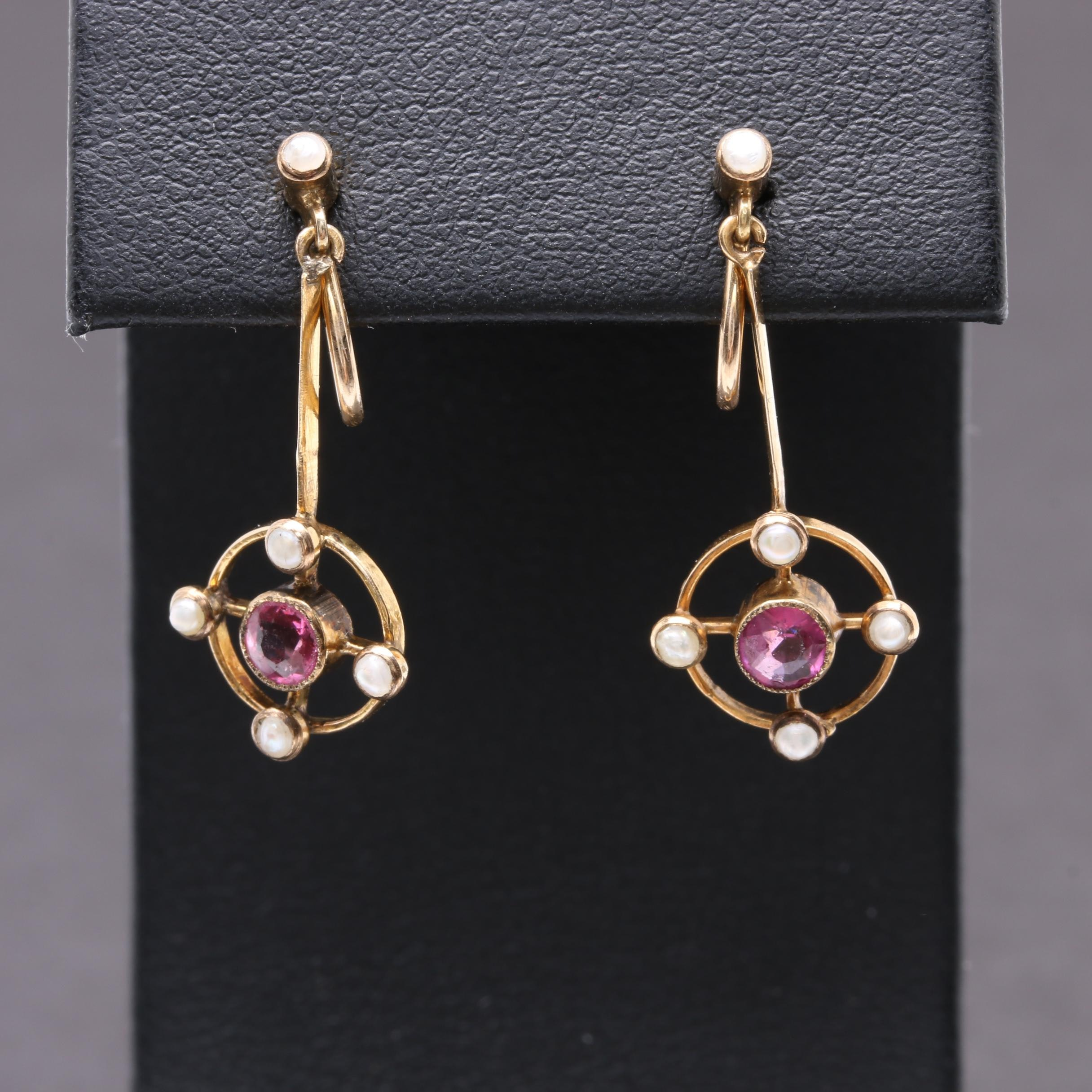 10K Yellow Gold Glass and Garnet Doublet and Seed Pearl Earrings