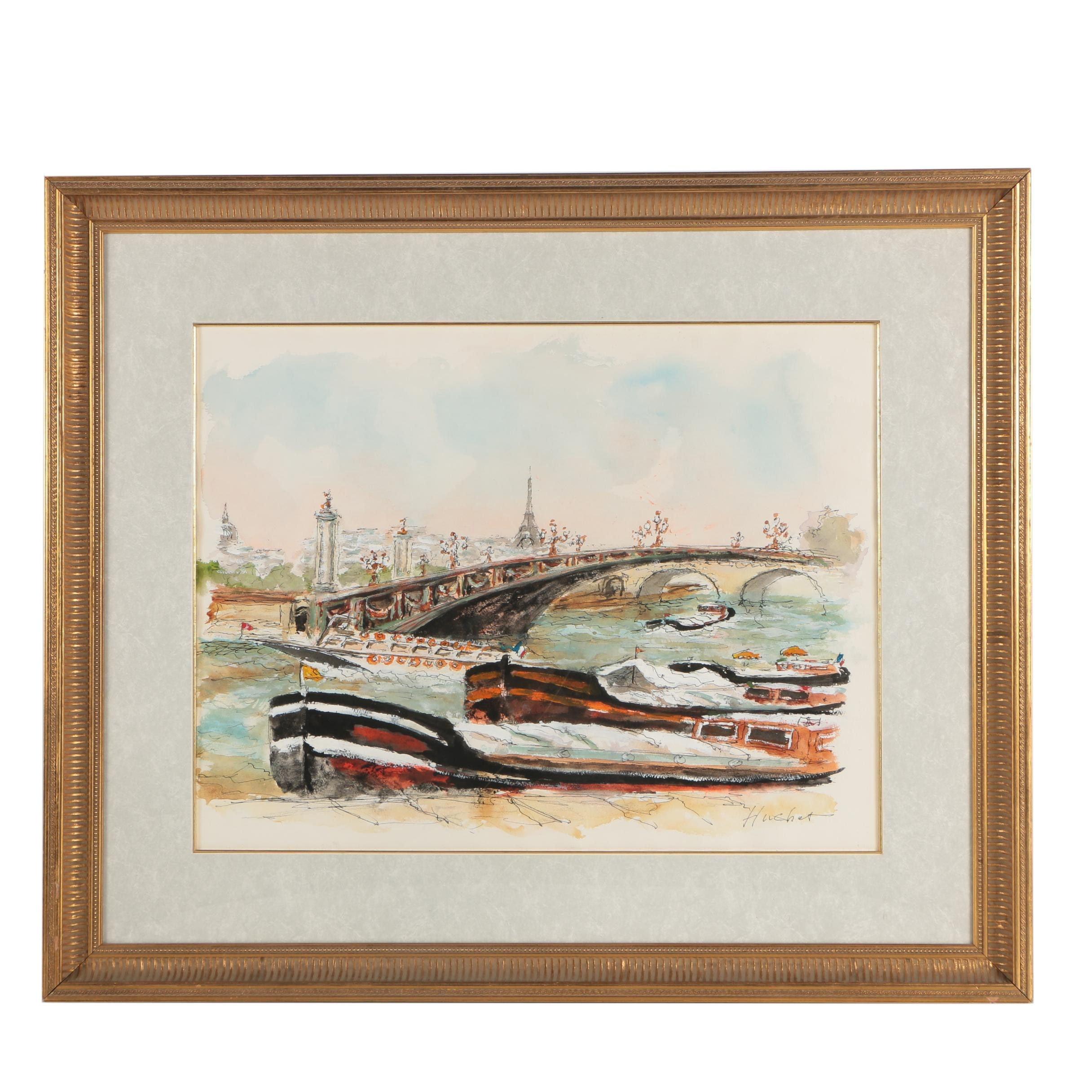 Urbain Emmanuel Huchet Signed Watercolor Painting of the Seine River, Paris