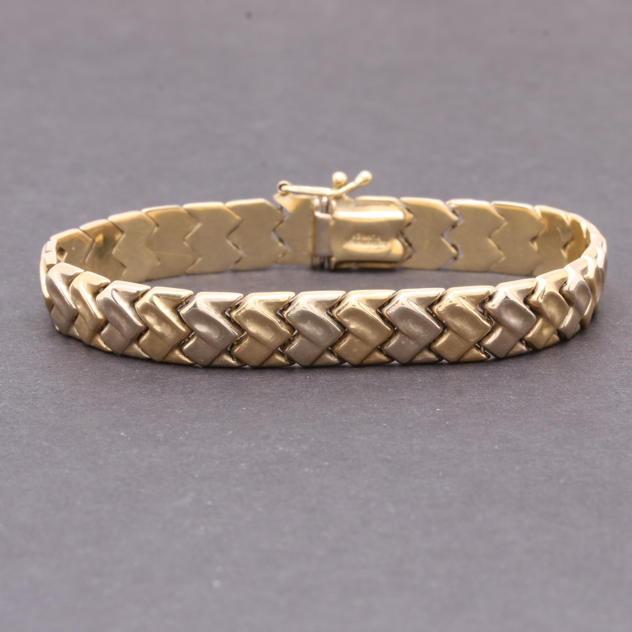 Aurafin 14K Yellow Gold Fancy Link Bracelet