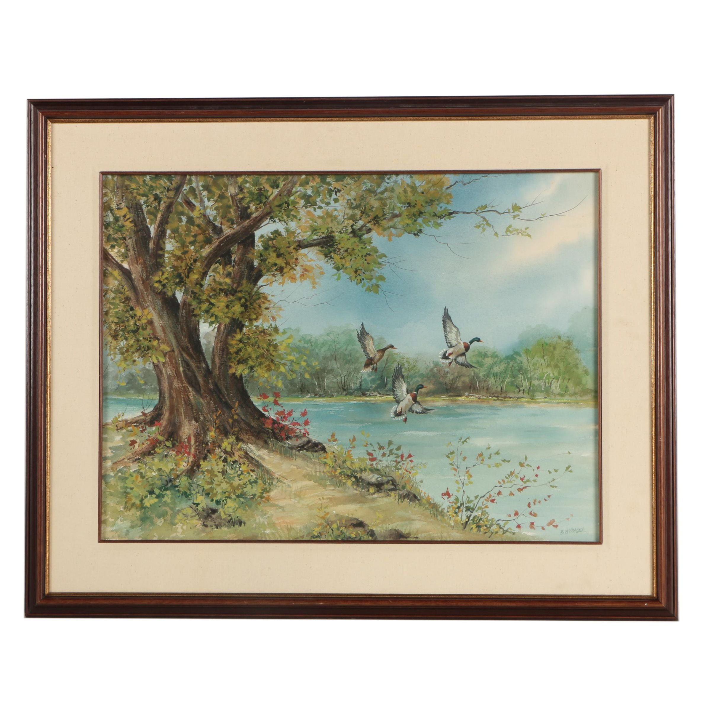 B. Wypasek Watercolor and Gouache Painting of Ducks on the Lake