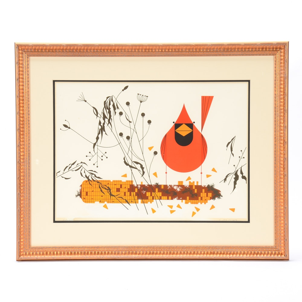 "Charley Harper Serigraph ""Red and Fed"""