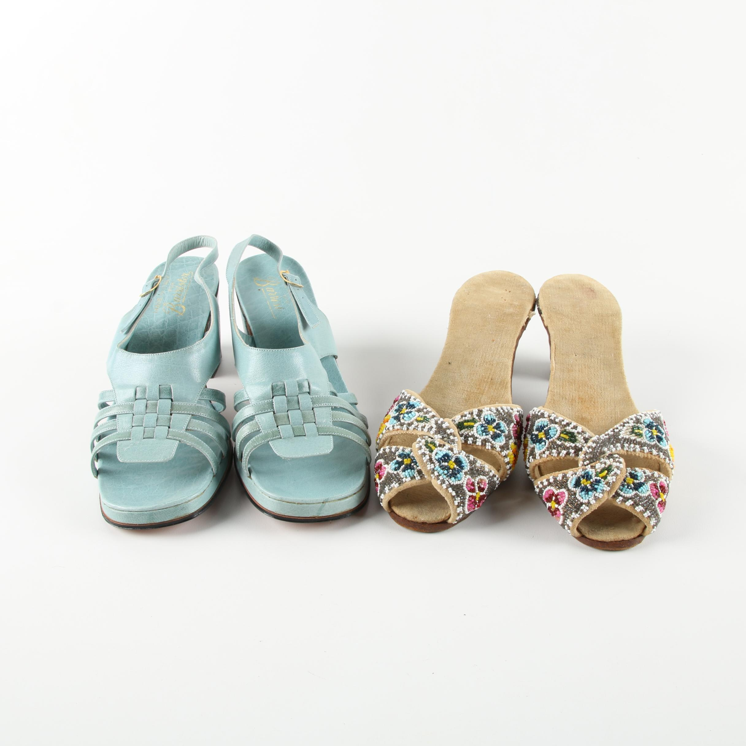 Women's Vintage Barrister Sandals and Beaded Slides