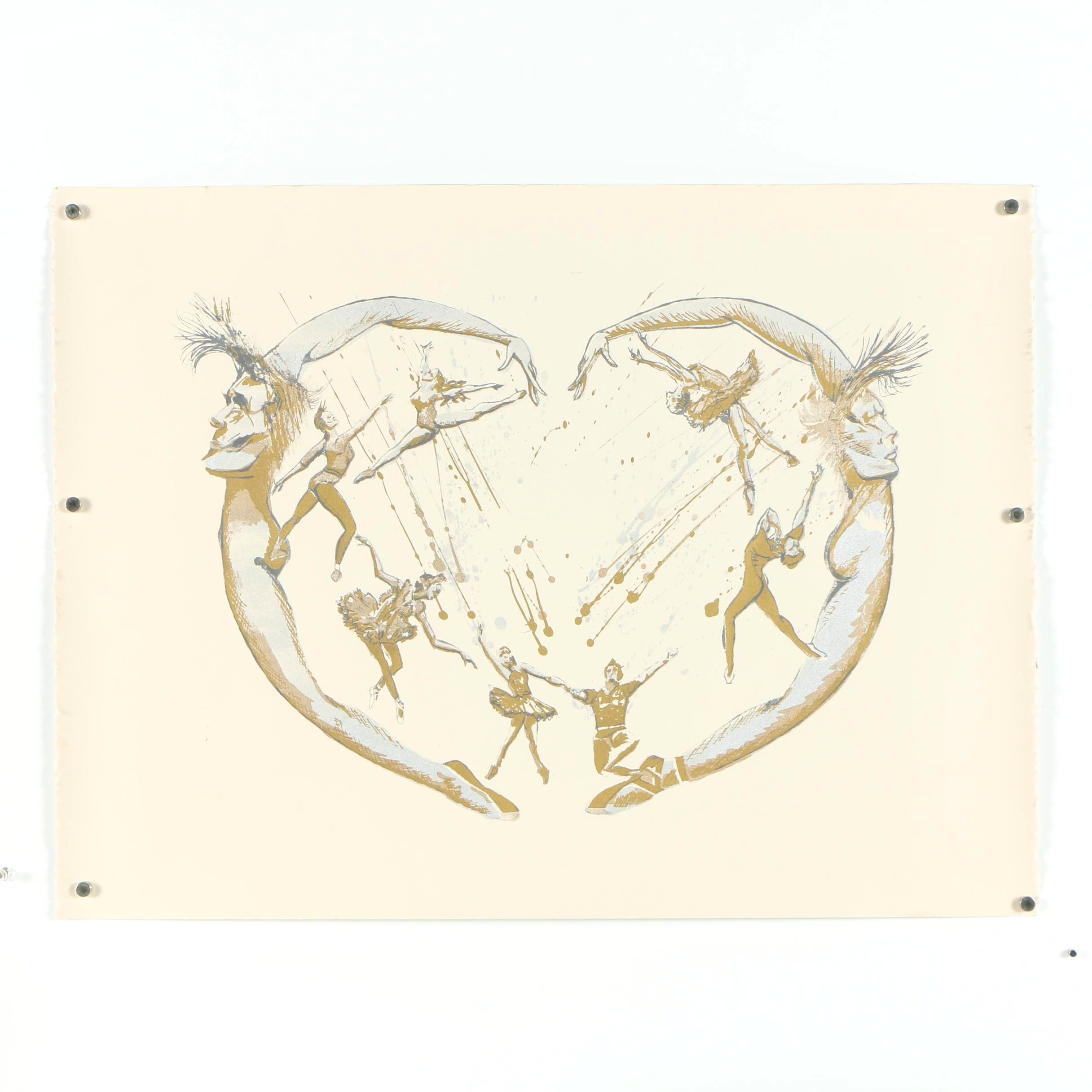 Gold and Silver Tone Serigraph of Ballet Dancers