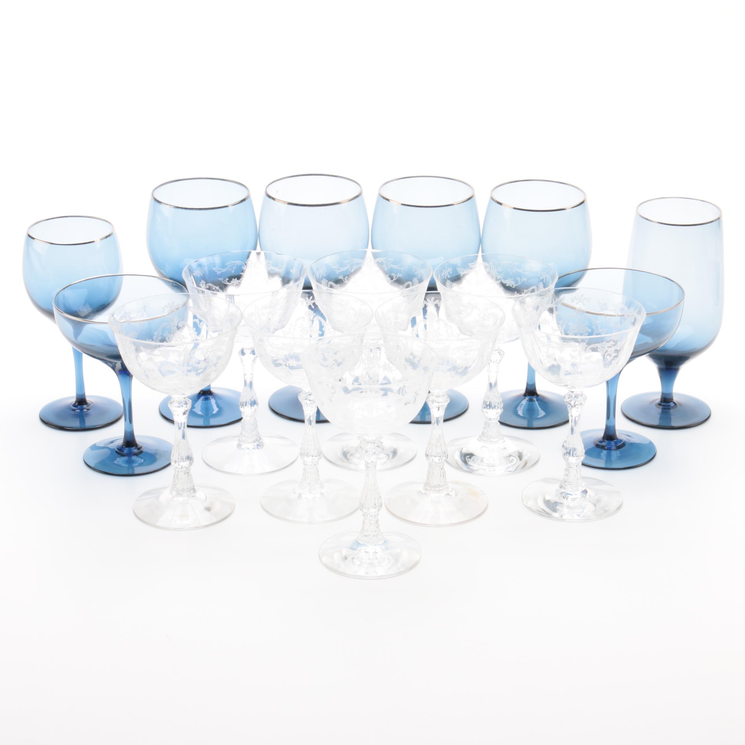"Lenox ""Blue Shadow"" and Fostoria Etched Glass Stemware"