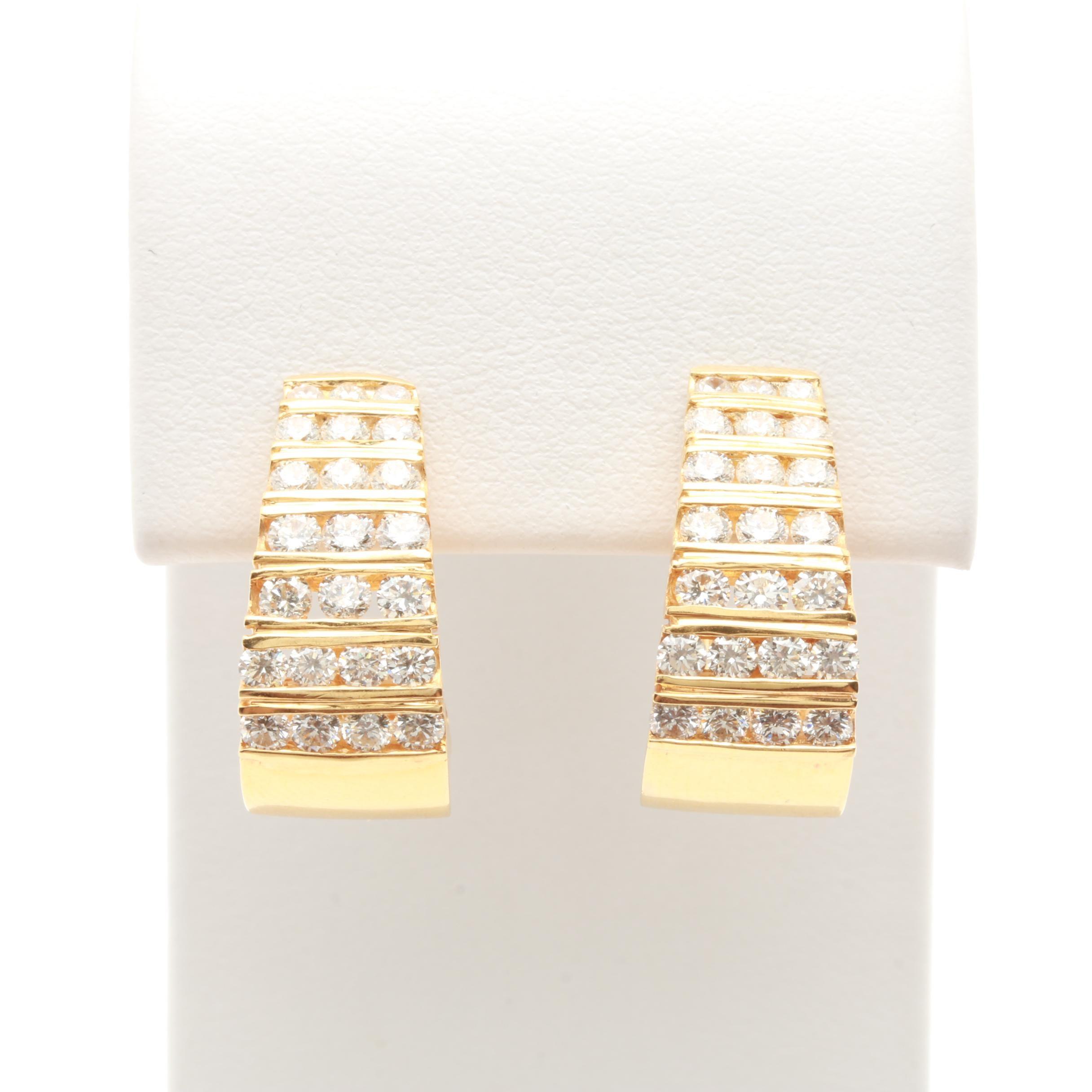 18K Yellow Gold 2.02 CTW Diamond J-Hoop Omega Back Earrings