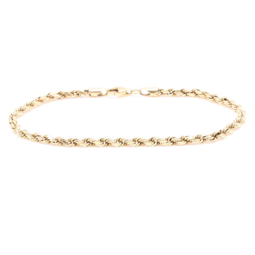 6d17f81eac689 14K Yellow Gold French Rope Chain Bracelet