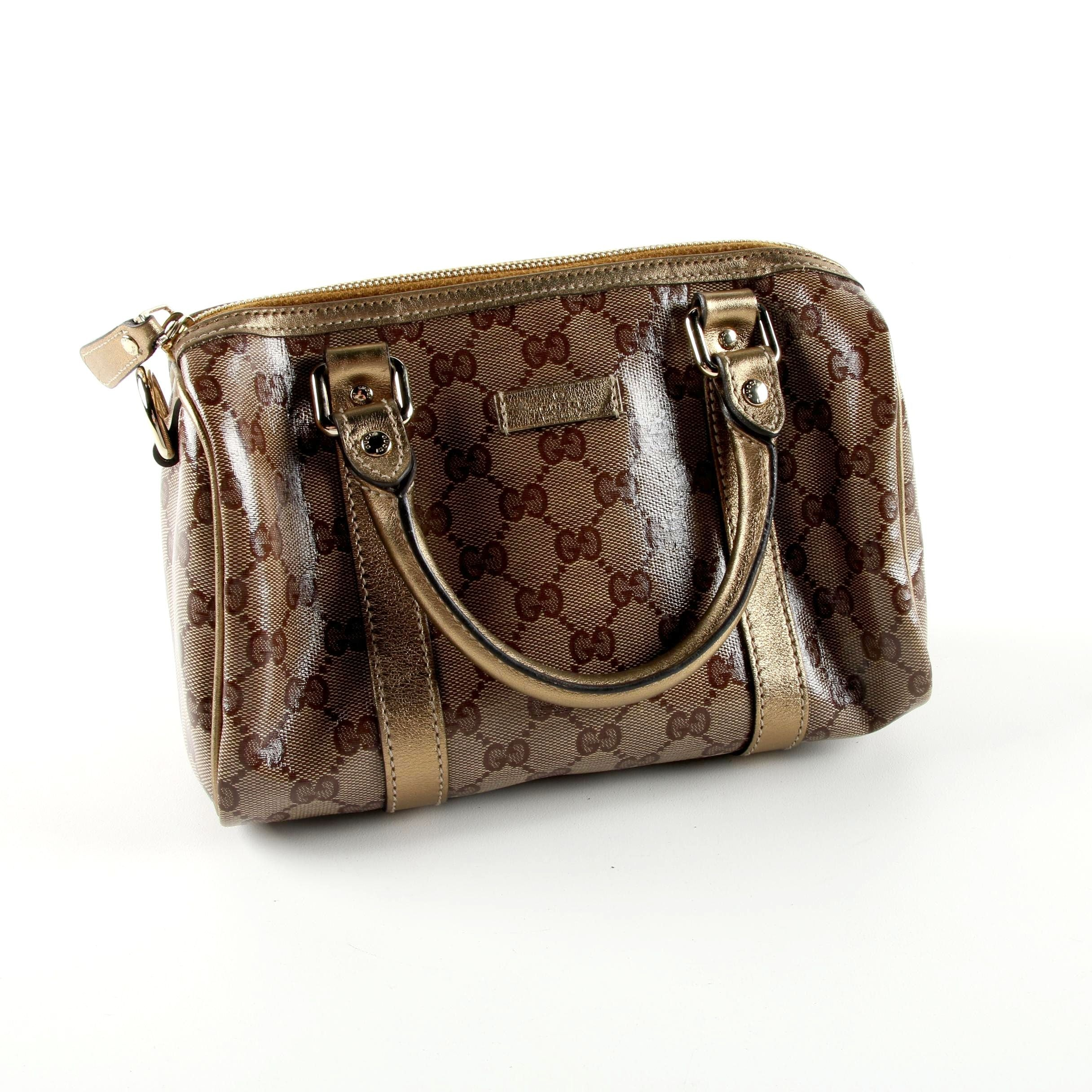 Gucci Boston Brown/Bronze Supreme Coated Canvas and Leather Handbag