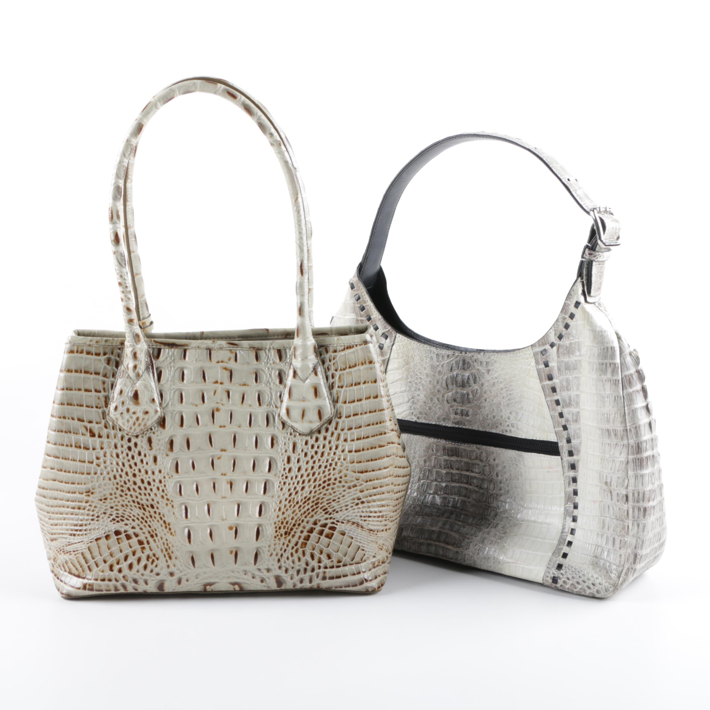 Nina Raye Crocodile Skin and Brahmin Embossed Leather Handbags