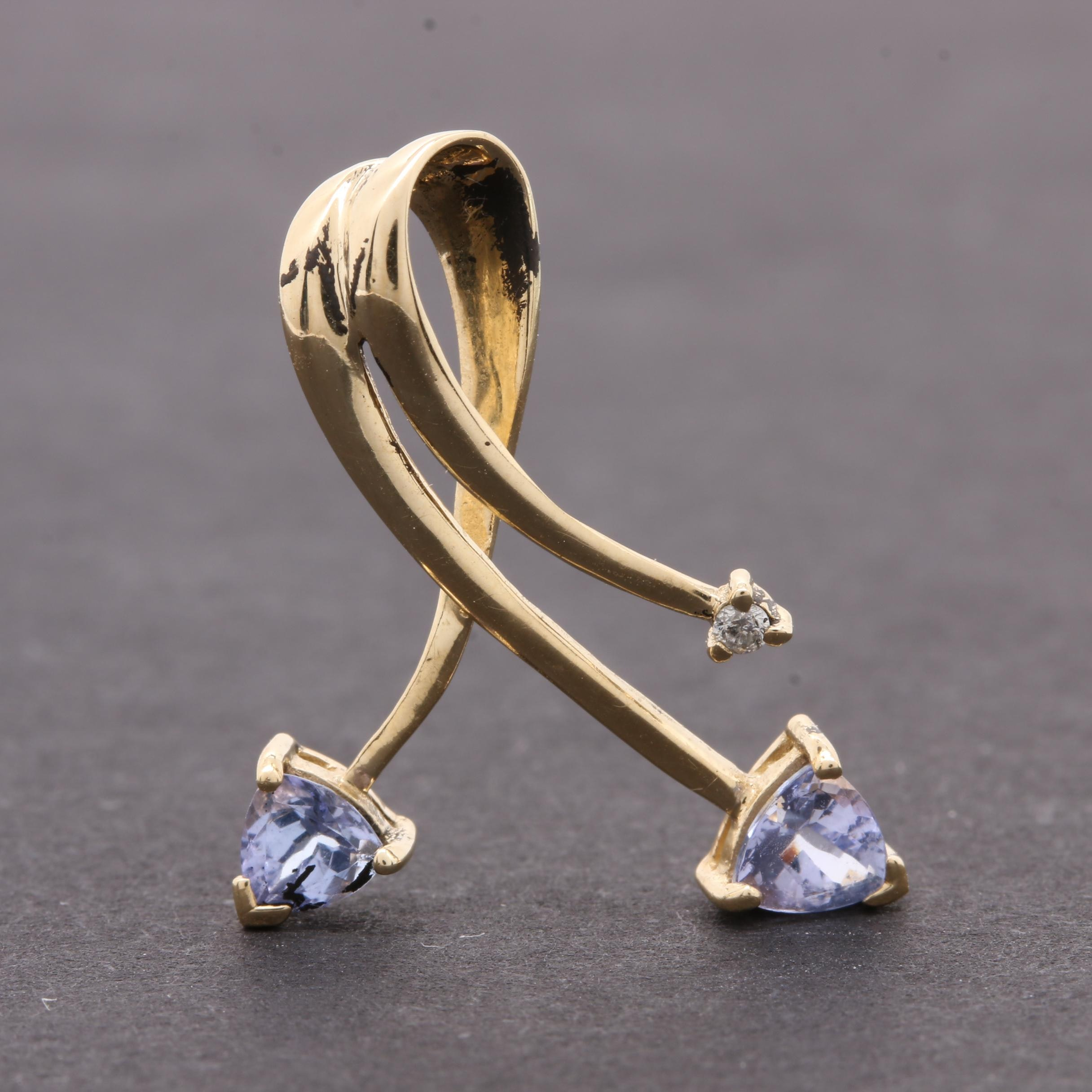 14K Yellow Gold Tanzanite and Diamond Slide Pendant