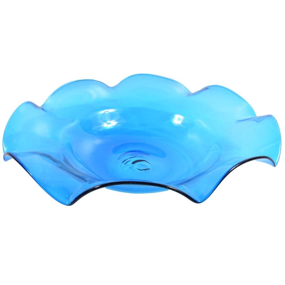 Blue Glass Centerpiece Bowl