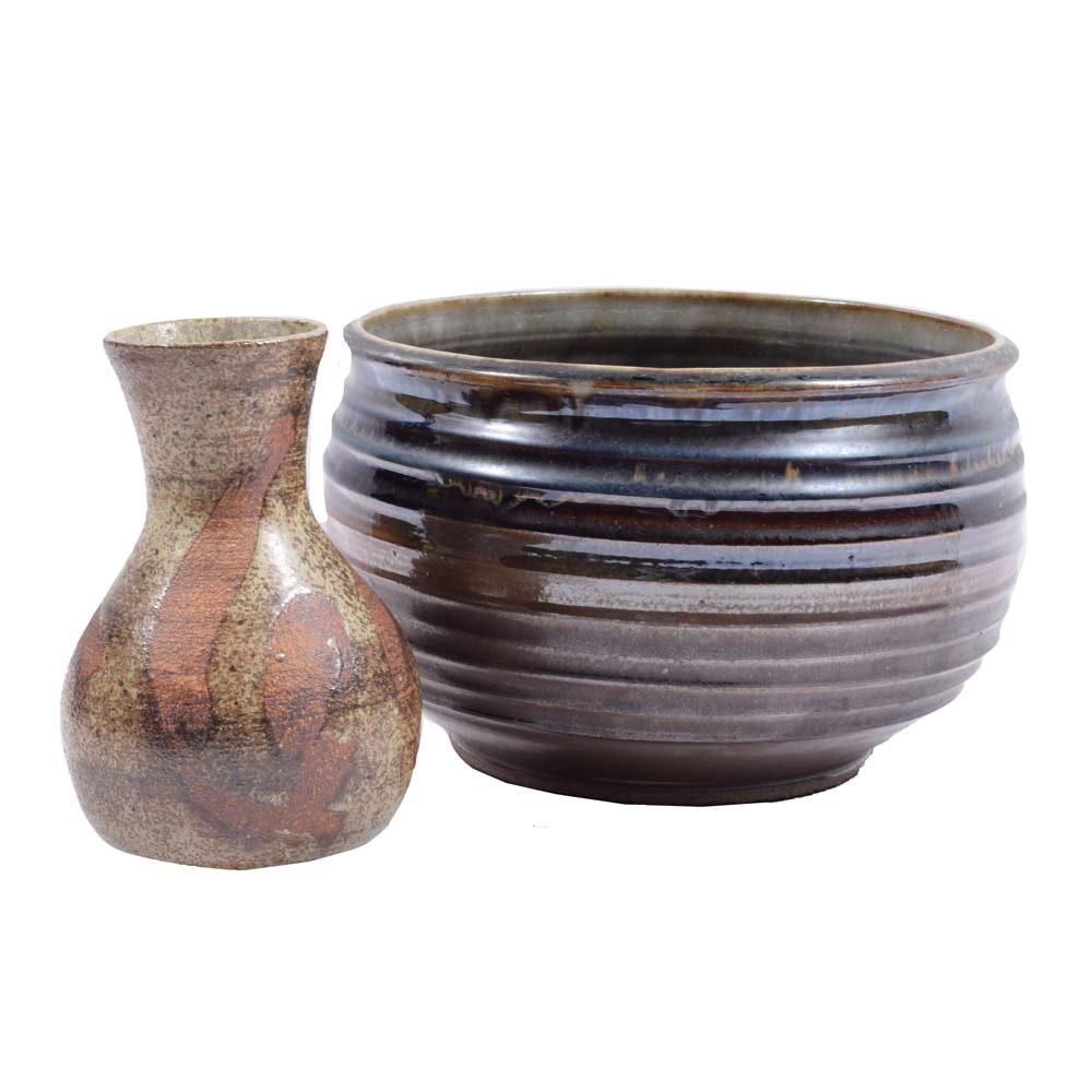Signed Wheel Thrown Stoneware Vase and Bowl