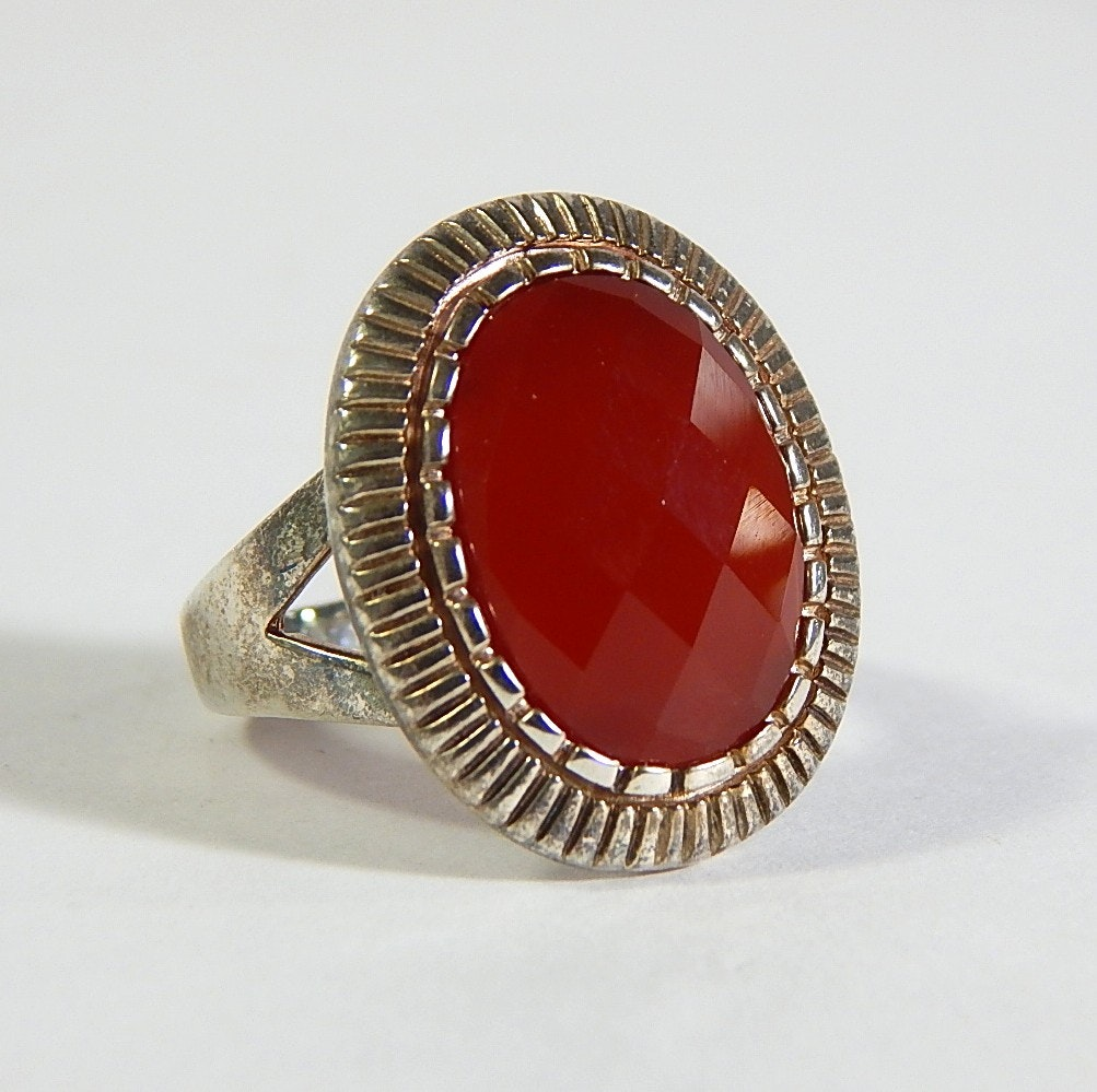 Sterling Silver Ring with Faceted Red Stone