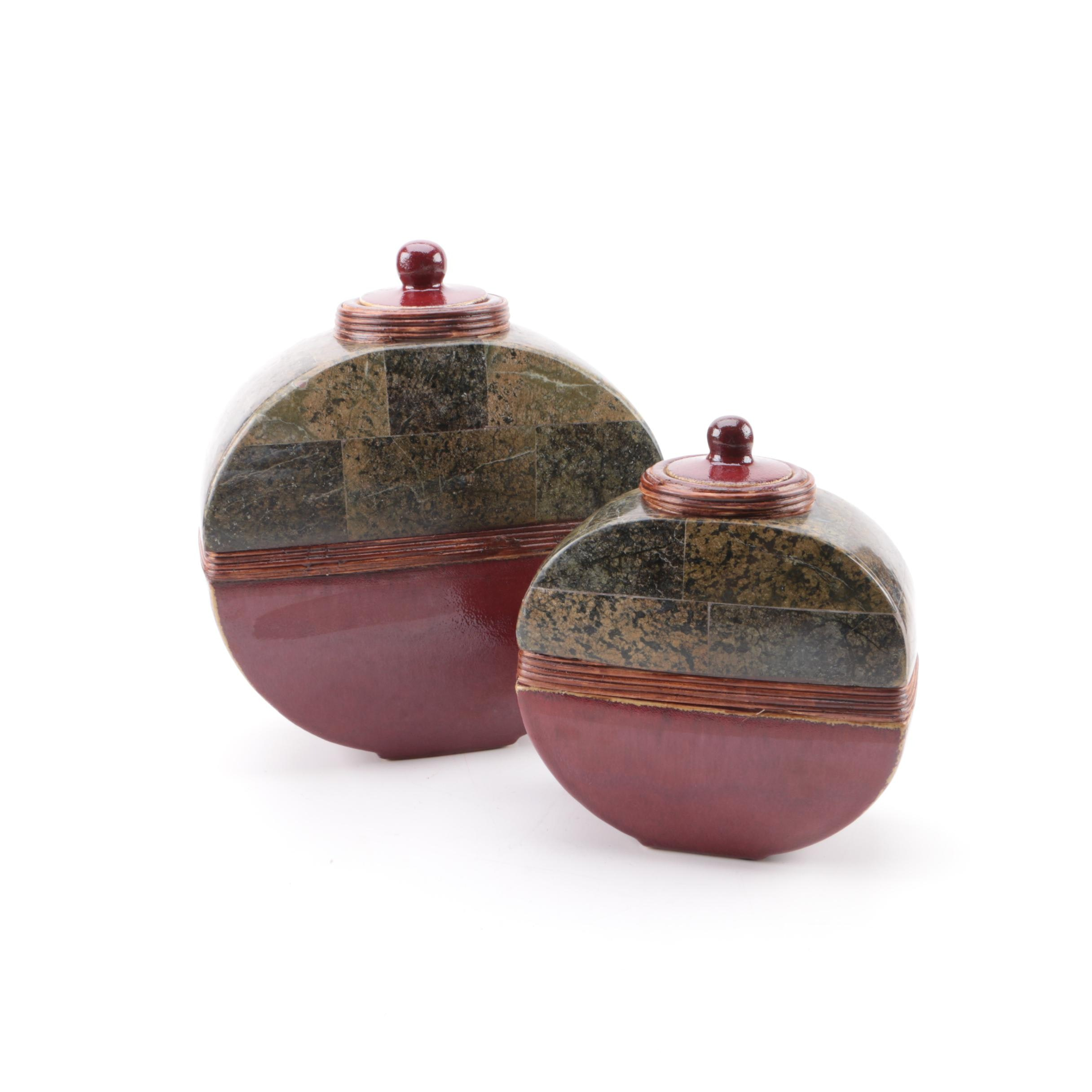 Contemporary Ceramic and Marble Veneered Lidded Vessels