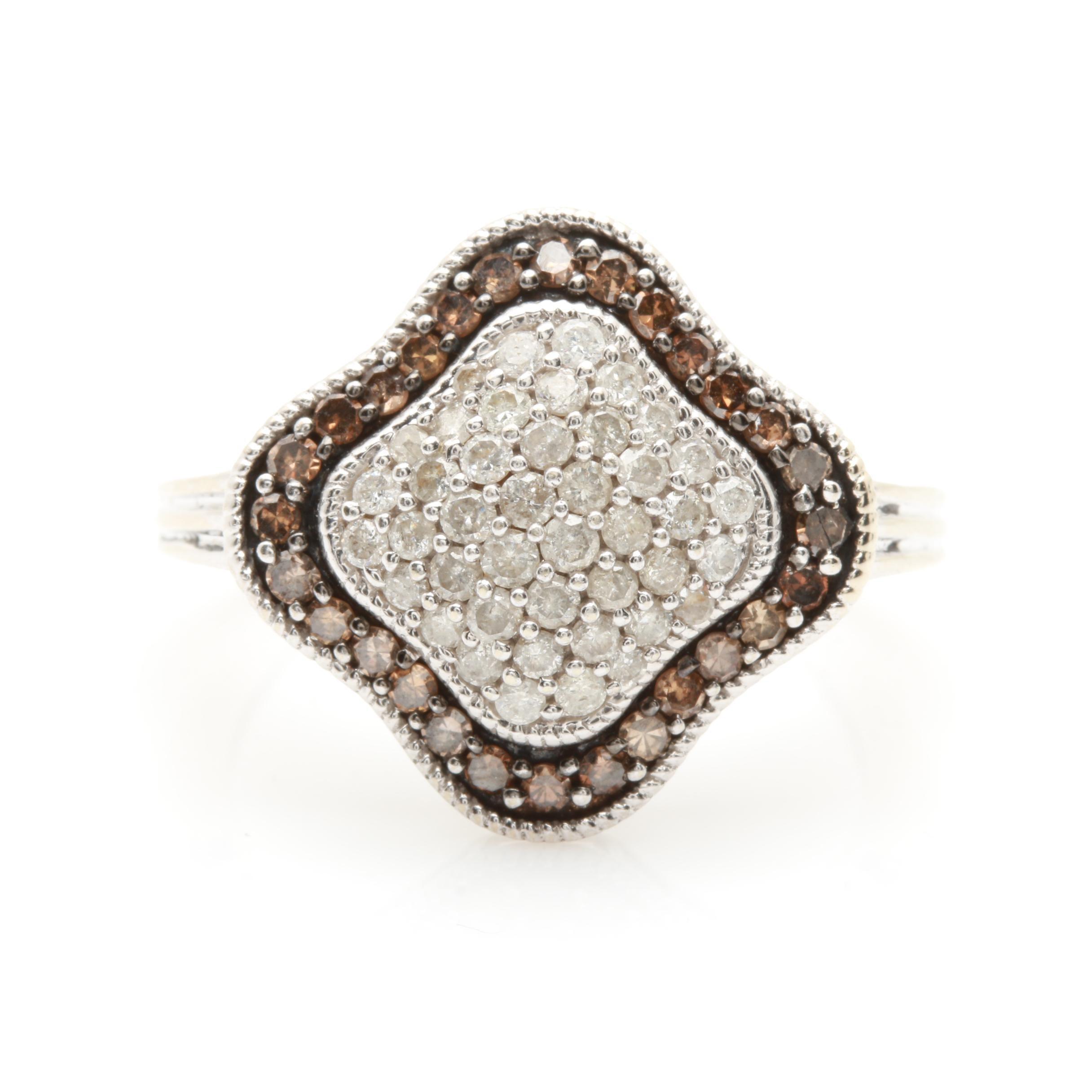 10K White Gold 1.05 CTW Diamond Ring Featuring Brown Diamonds
