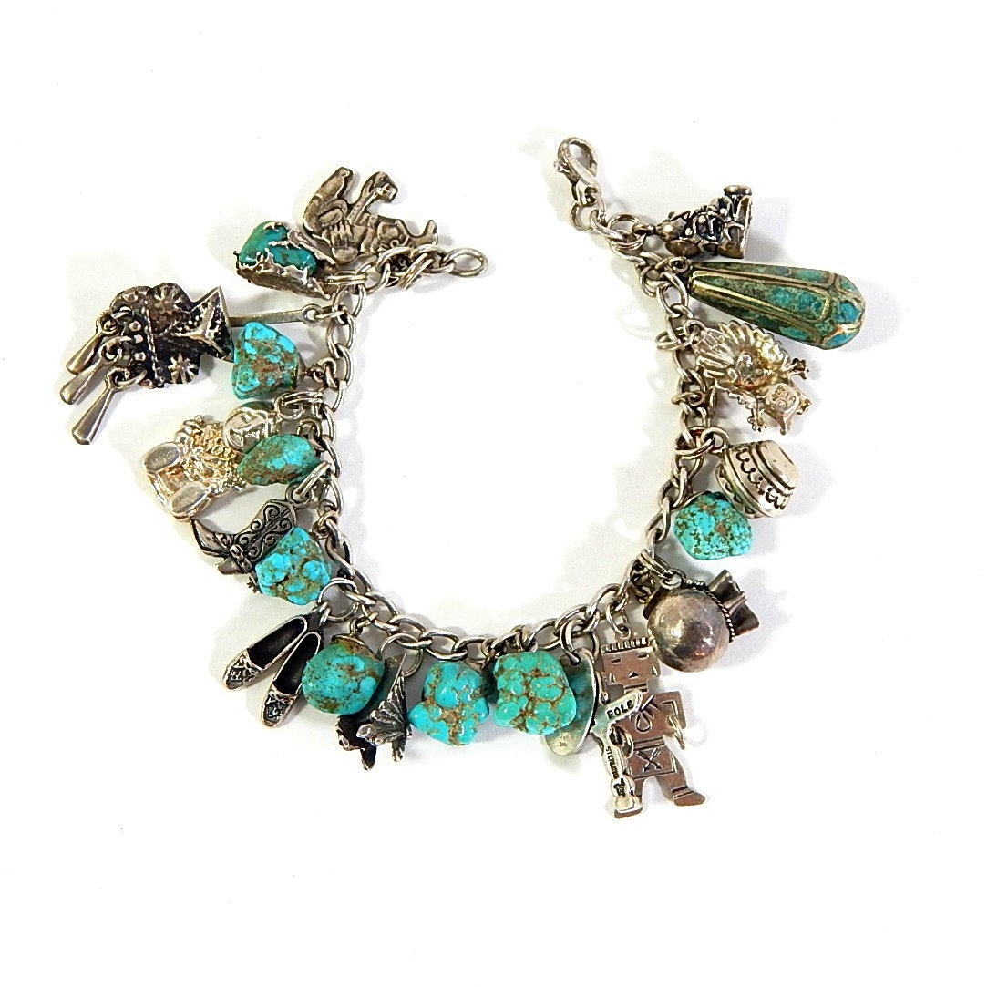 Sterling Silver and Turquoise Nugget Charm Bracelet