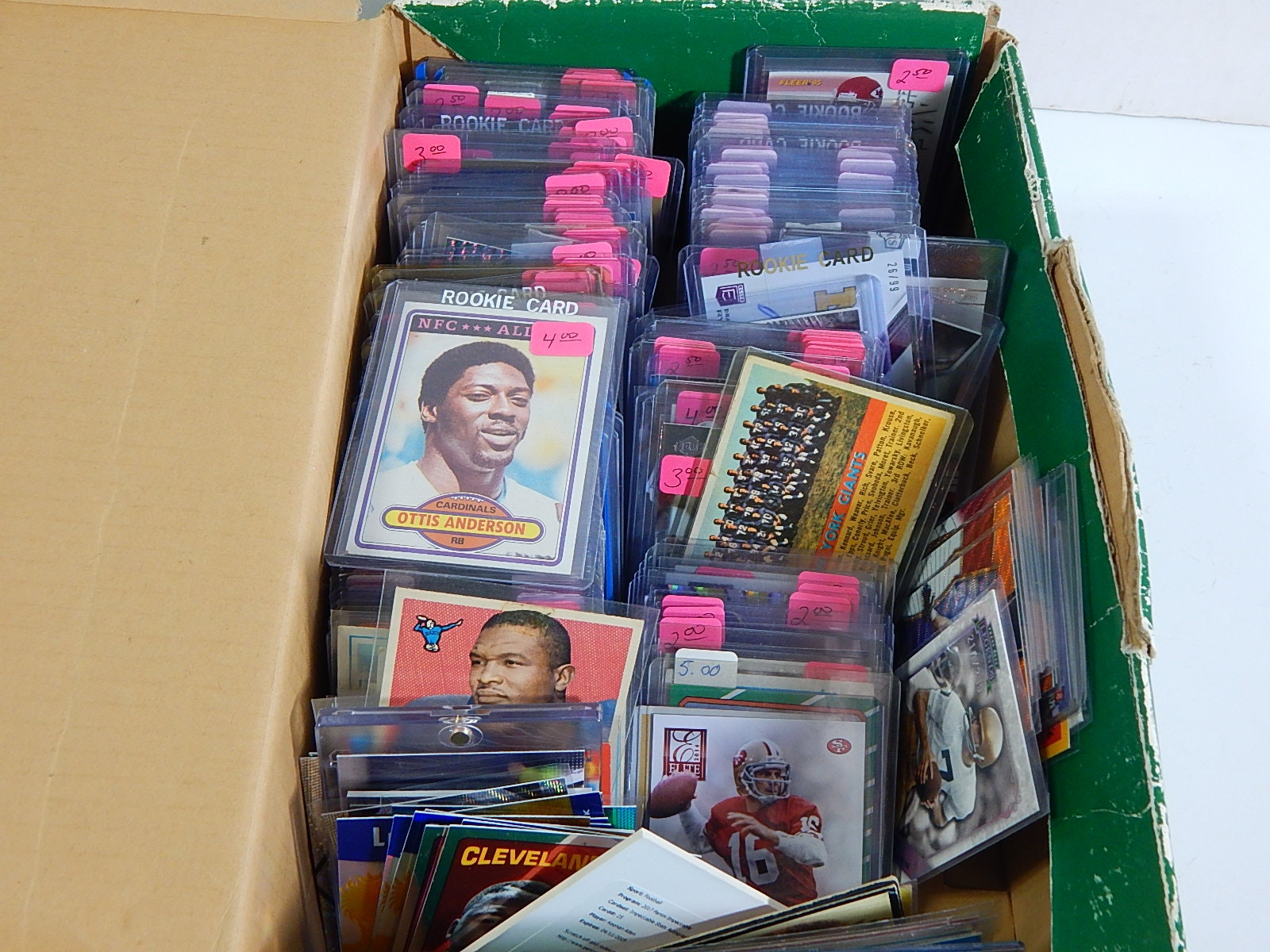 Large Shoebox of Football Cards from 1950s through 2000s with Payton,Montana