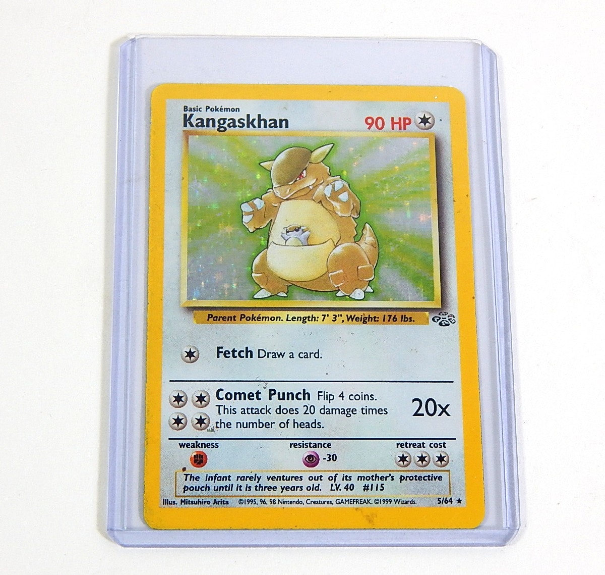 "Original 1990s Pokemon Hologram ""Kangaskhan"" Trading Card 5/64"
