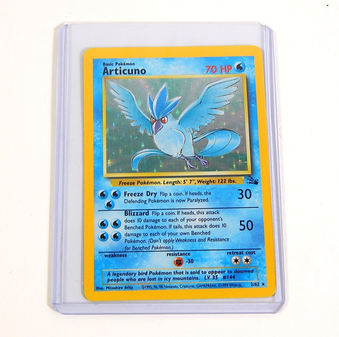 "Original 1990s Pokemon Hologram ""Articuno"" Trading Card 2/62"