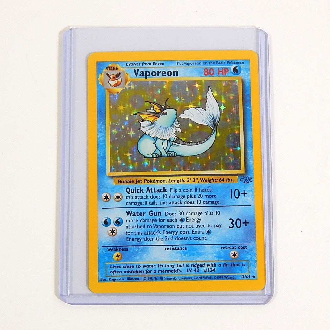 "Original 1990s Pokemon Hologram ""Vaporeon"" Trading Card 12/64"