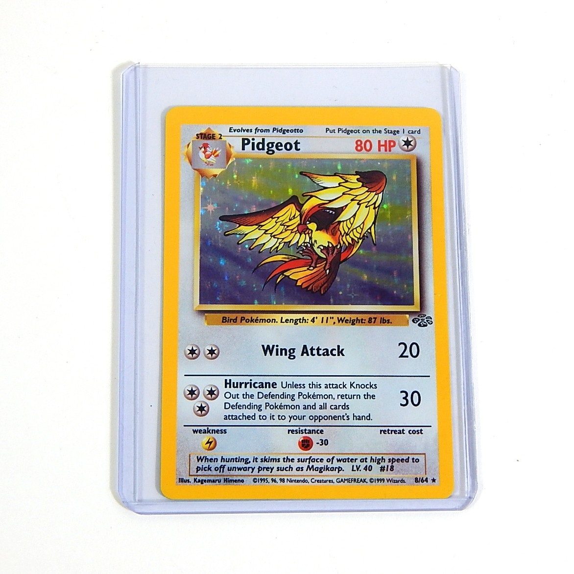 "Original 1990s Pokemon Hologram ""Pidgeot"" Trading Card 8/64"