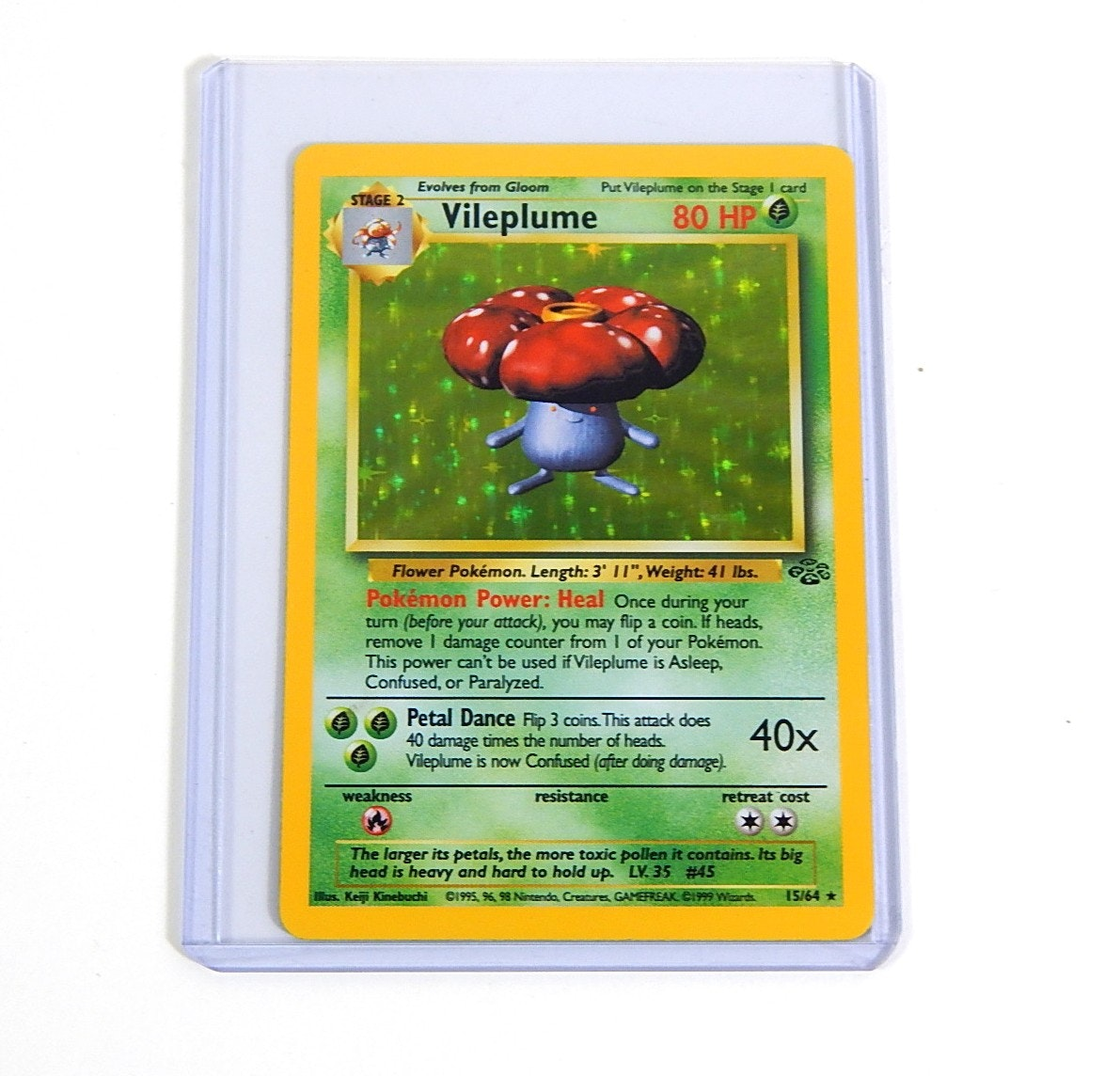 "Original 1990s Pokemon Hologram ""Vileplume"" Trading Card 15/64"