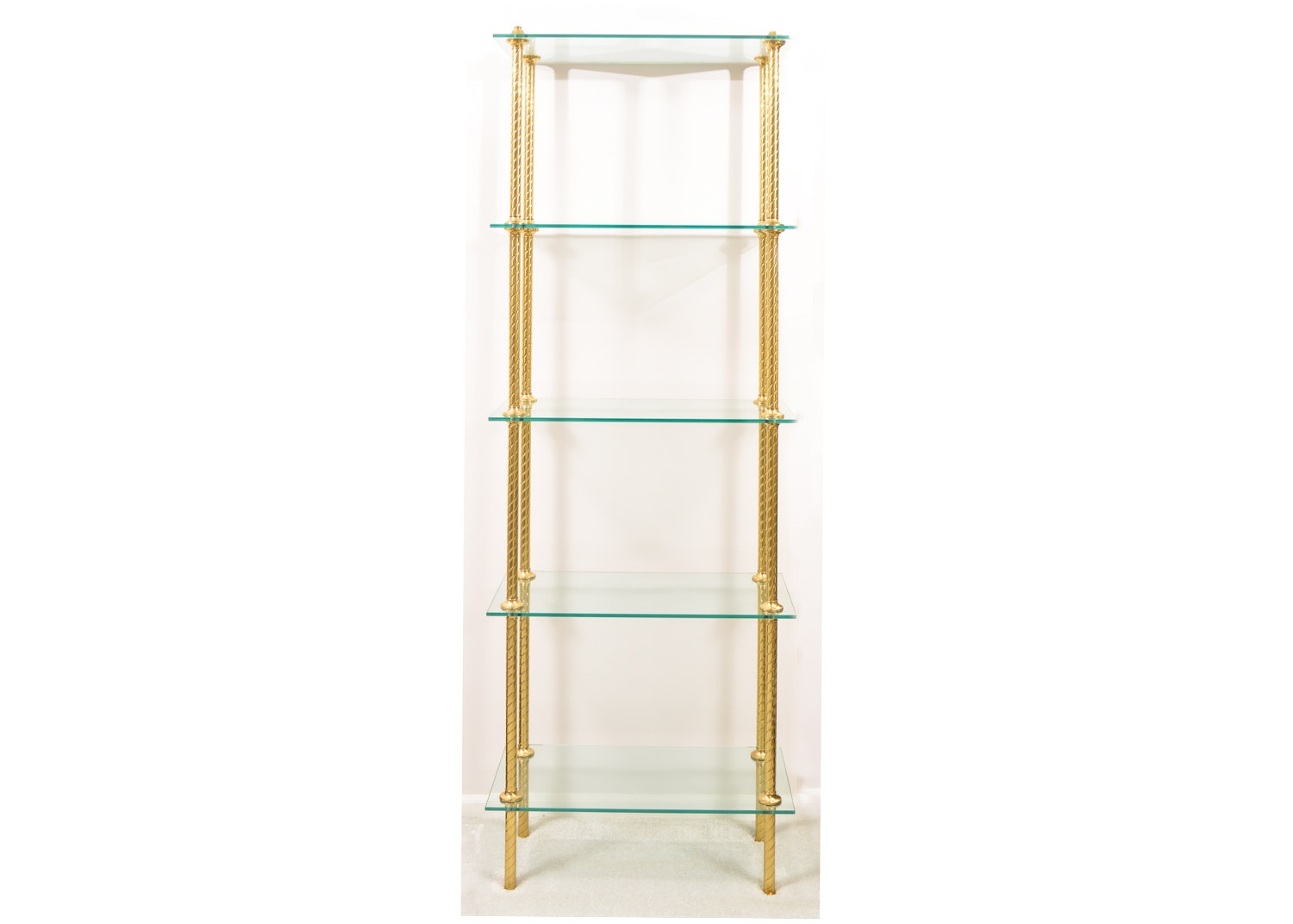 Glass Tiered Shelf With Brass Tone Metal Supports