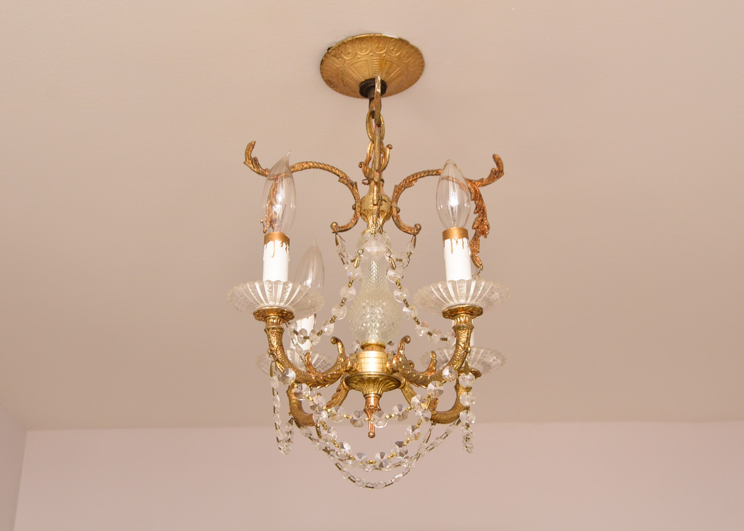 Cast Metal Gold Tone and Glass Chandelier