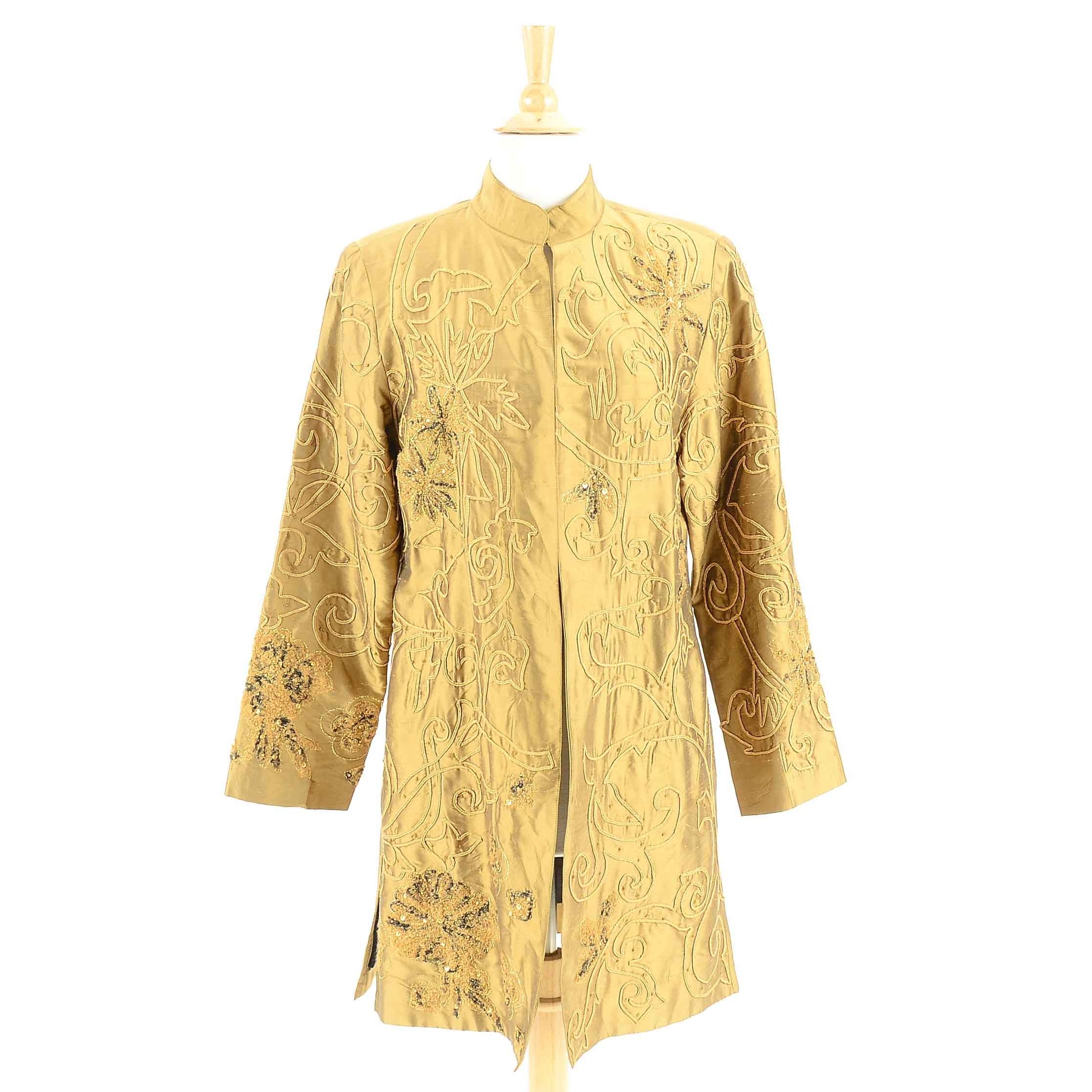 Women's Ribbon Work Embellished Golden Silk Tunic Jacket with Sequins