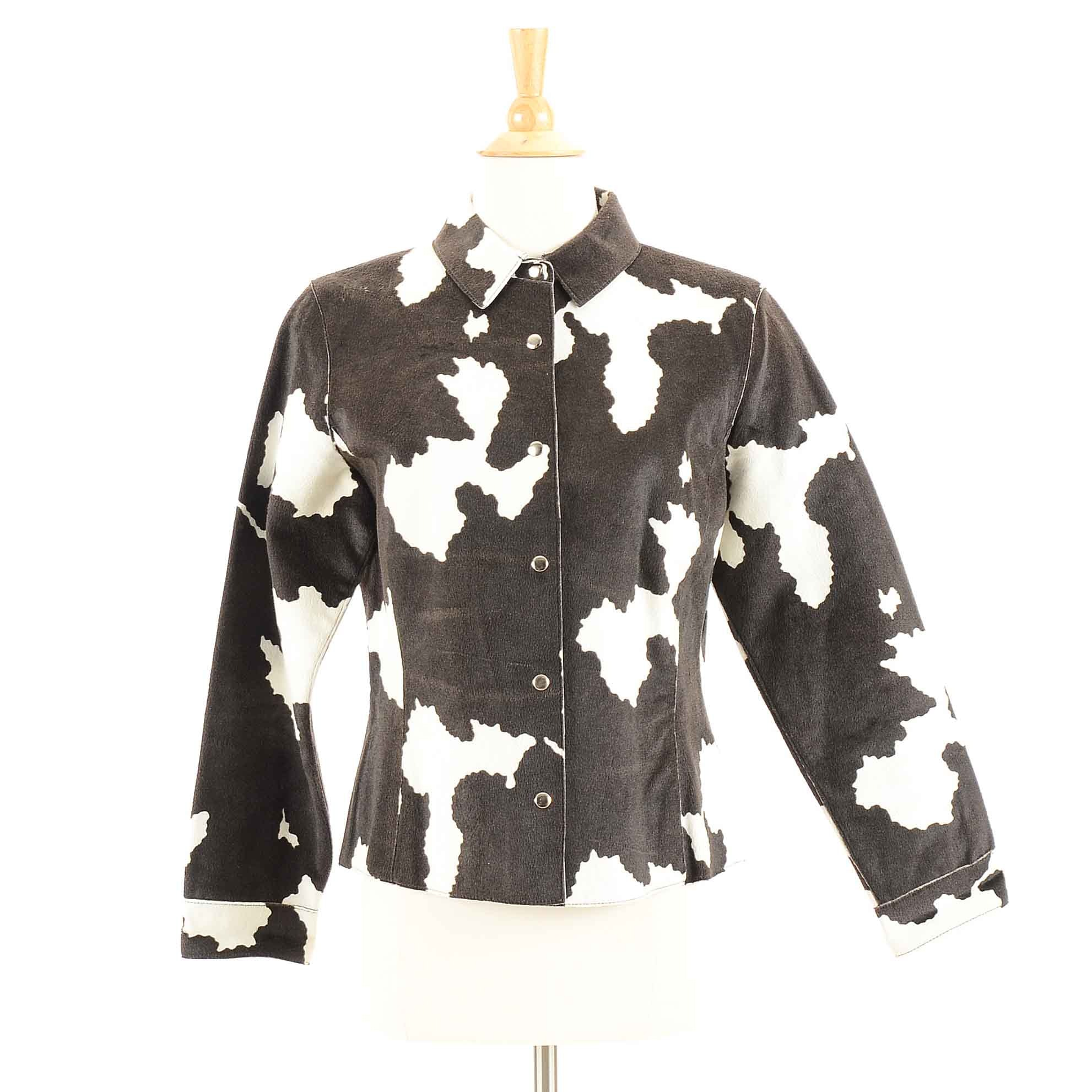 Women's Copper Key Dyed Black and White Calf Leather Jacket