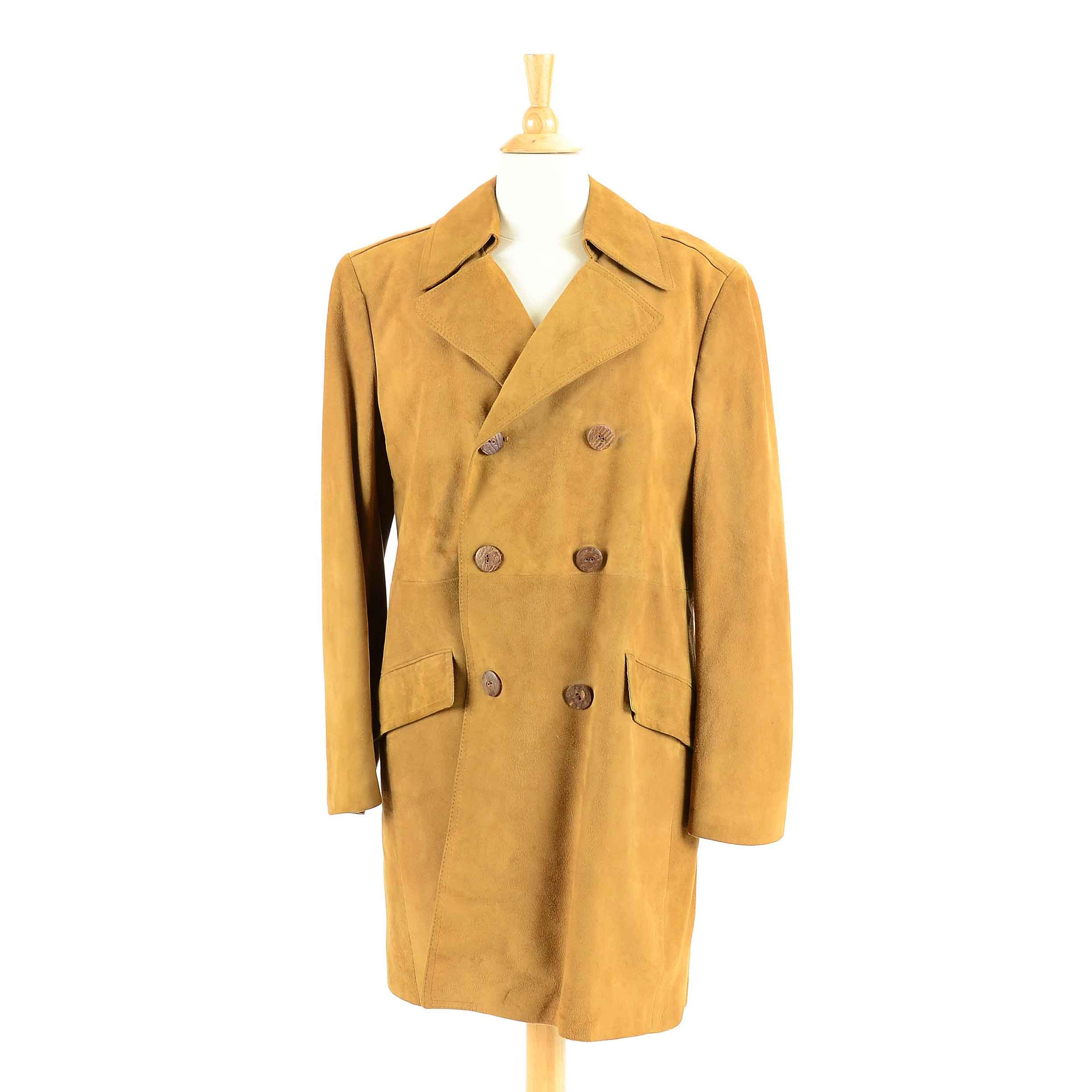 Cortefiel Suede Double-Breasted Coat, Made in Spain