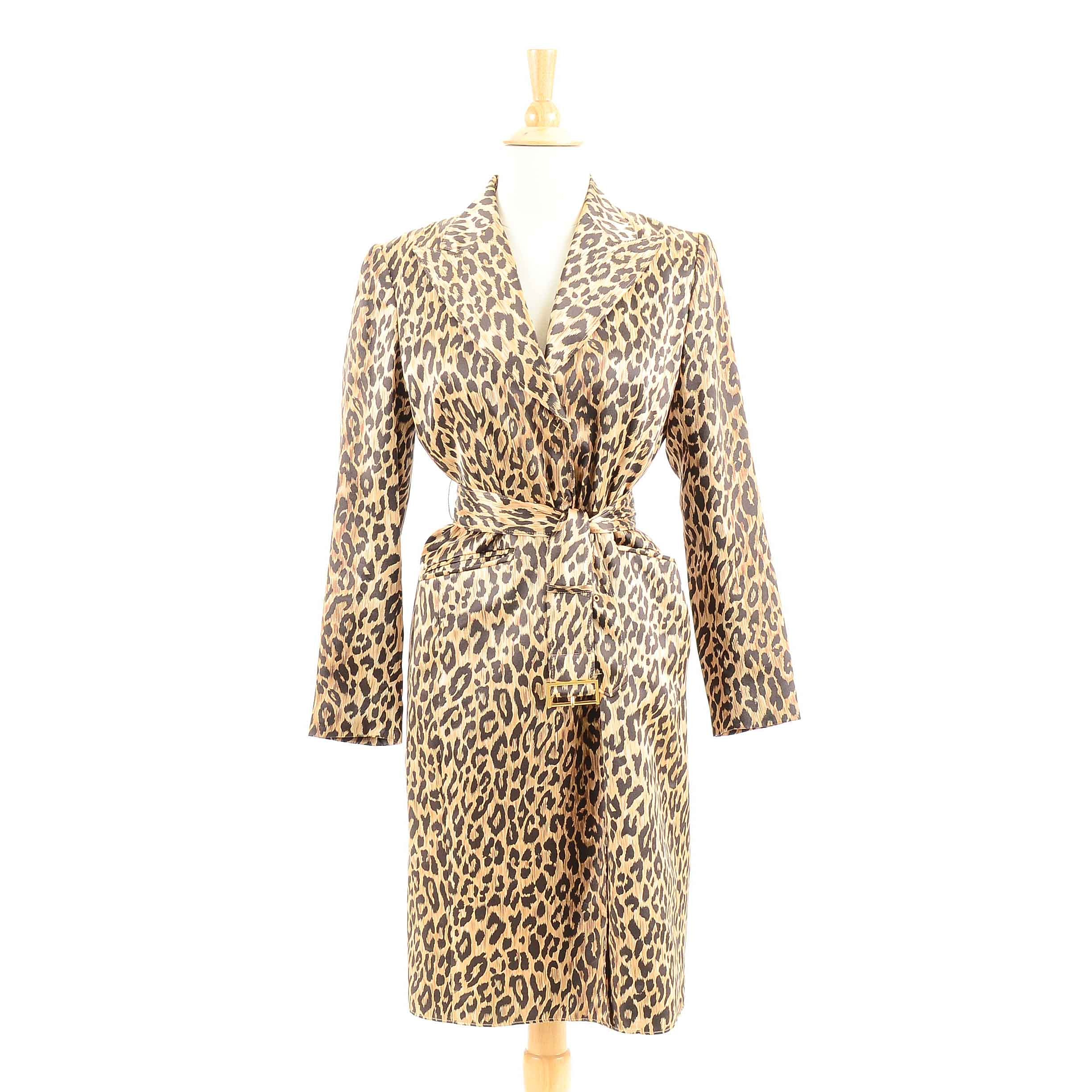 Anne Klein Leopard Print Silk Coat Dress with Belt