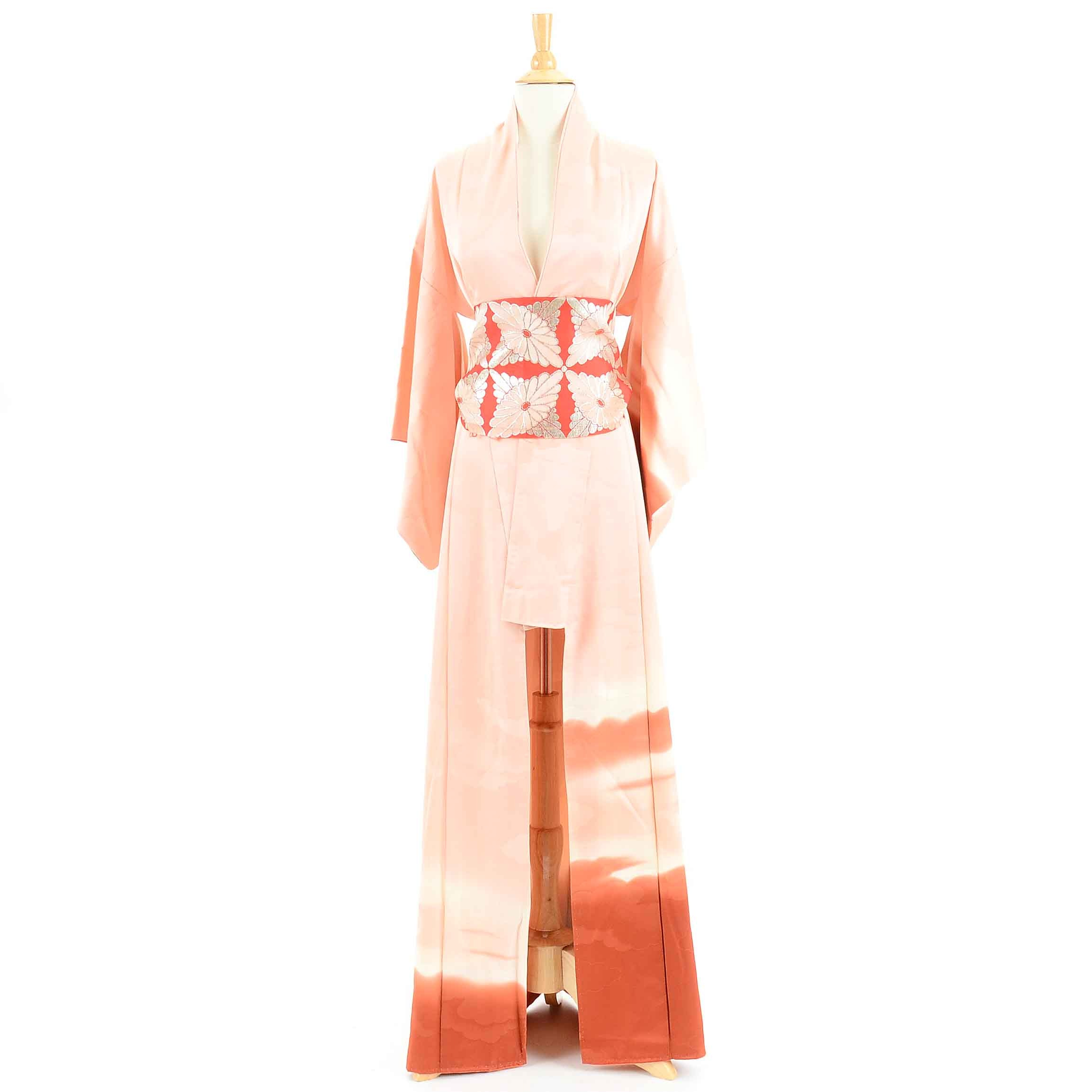Vintage Japanese Peach Silk Kimono and Obi Fabric